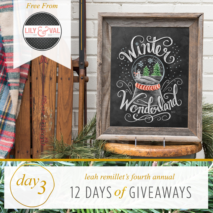 FREE chalk art download by Lily & Val as part of the 12 Days of Giveaways