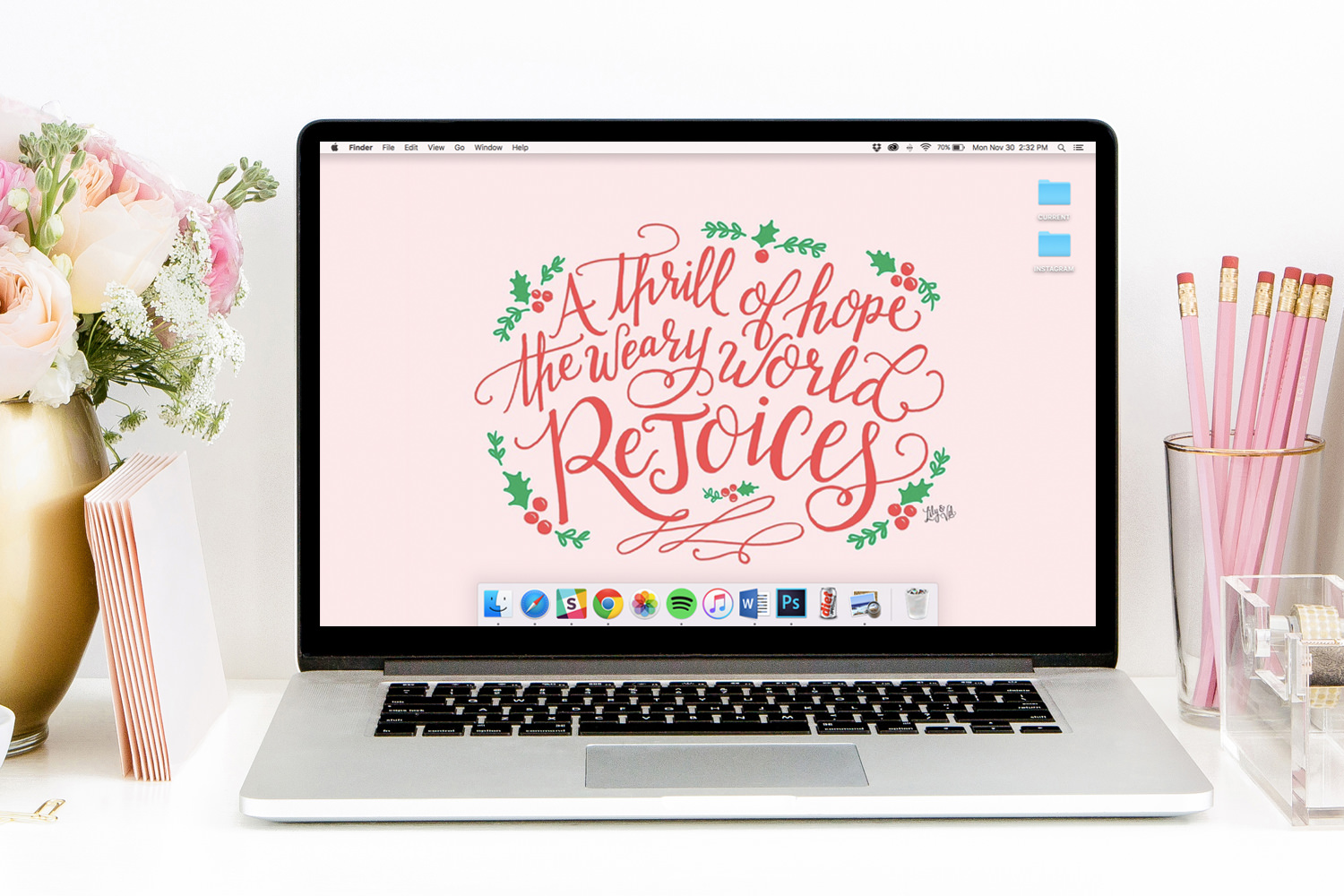 Lily & Val FREE December Desktop download hand lettering by Valerie McKeehan