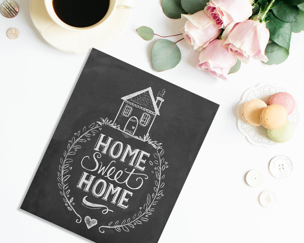 Cozy Home Sweet Home Chalk Art Print by Lily & Val