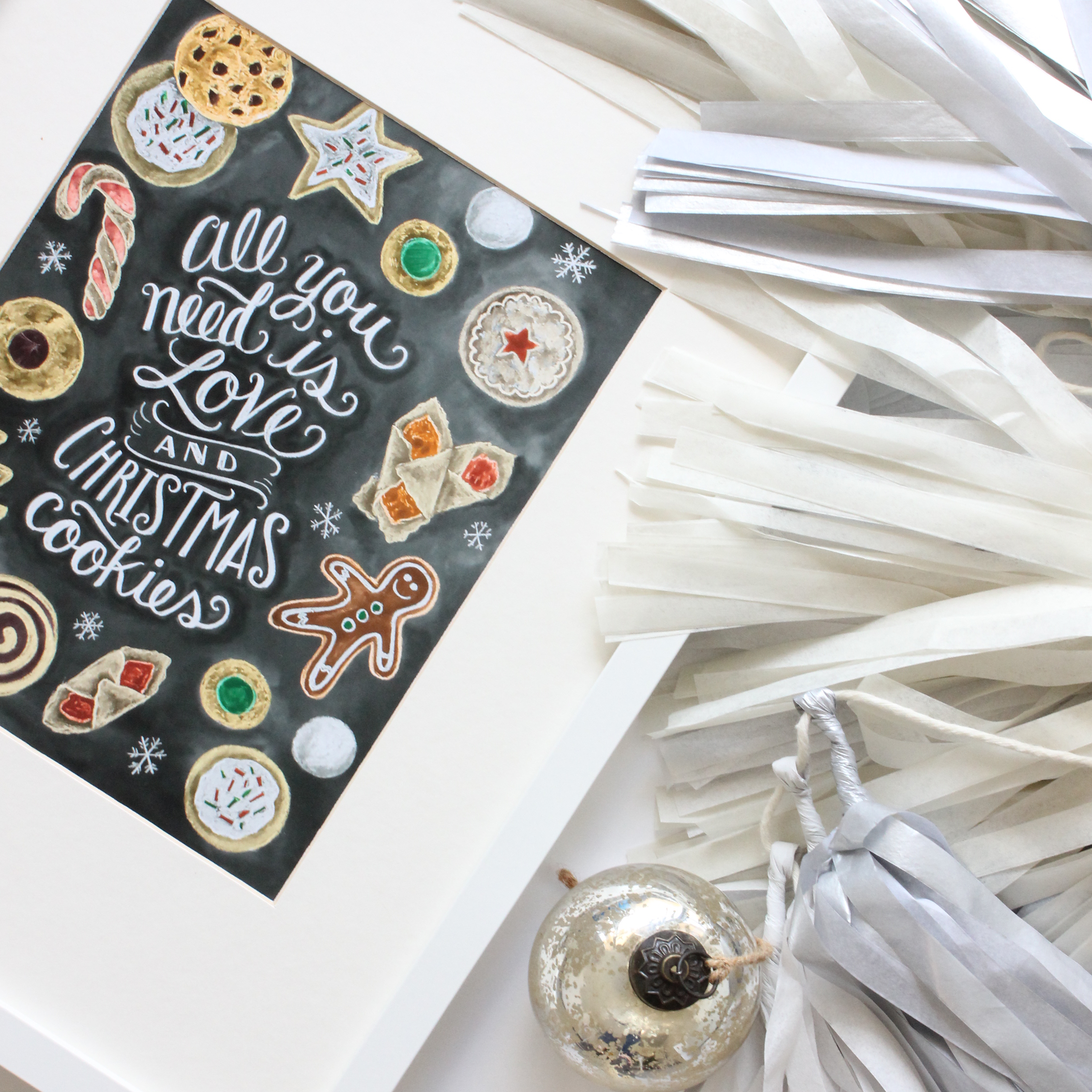 Perfect cookie exchange party decor - Lily & Val Love and Christmas Cookies Chalk Art Print and Flair Exchange tassel garland