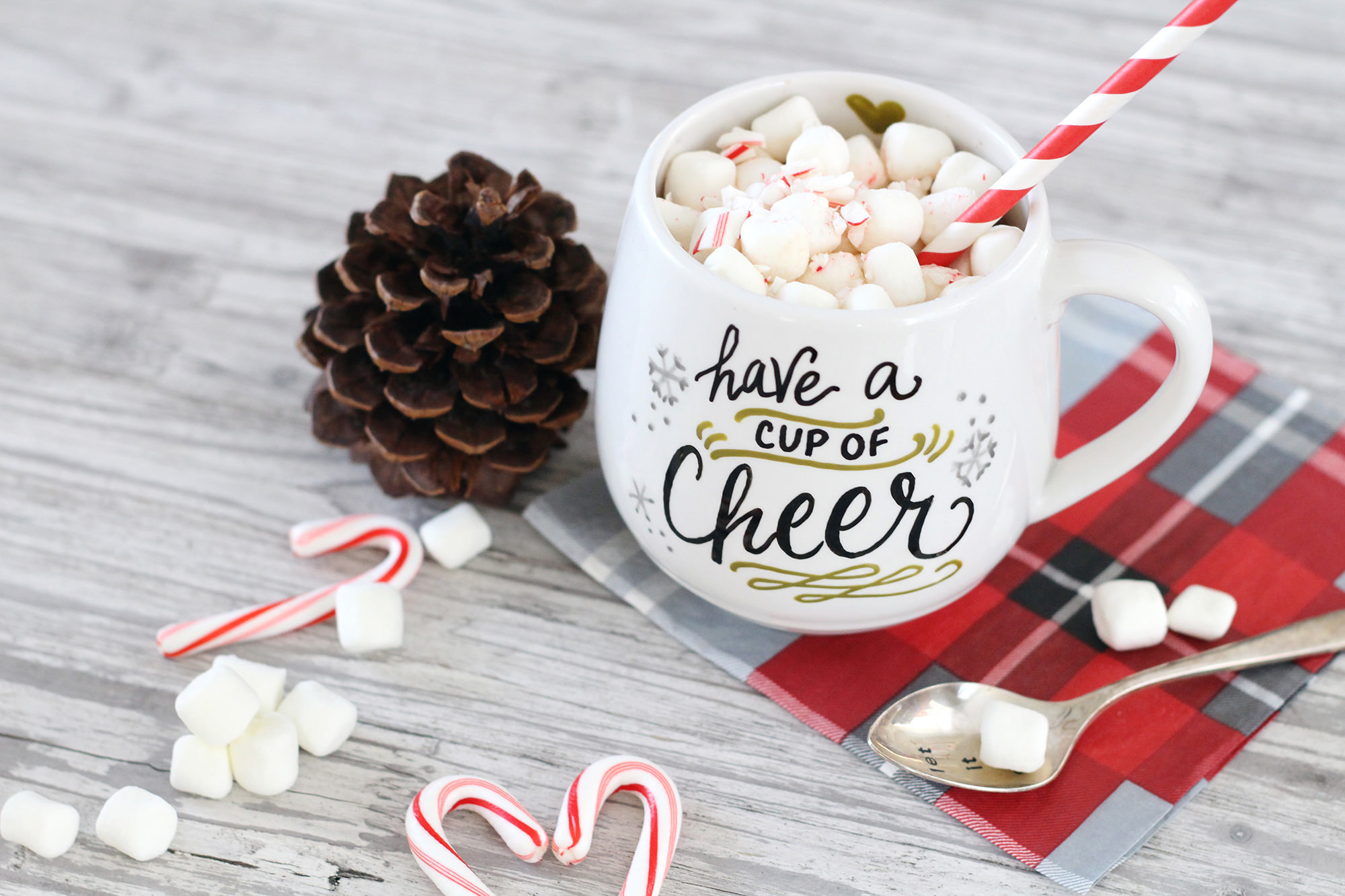 Have a cup of cheer - in a customized, DIY, hand lettered mug!