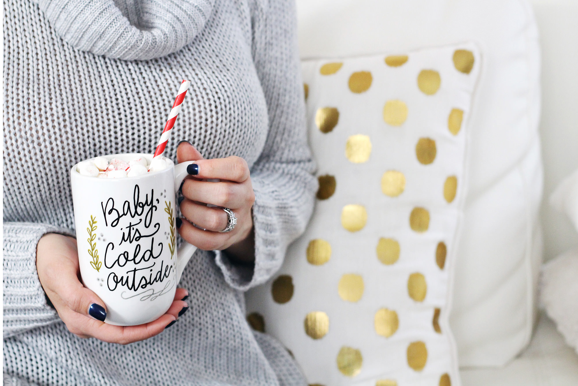 Baby it's cold outside hand lettered mug by Valerie McKeehan