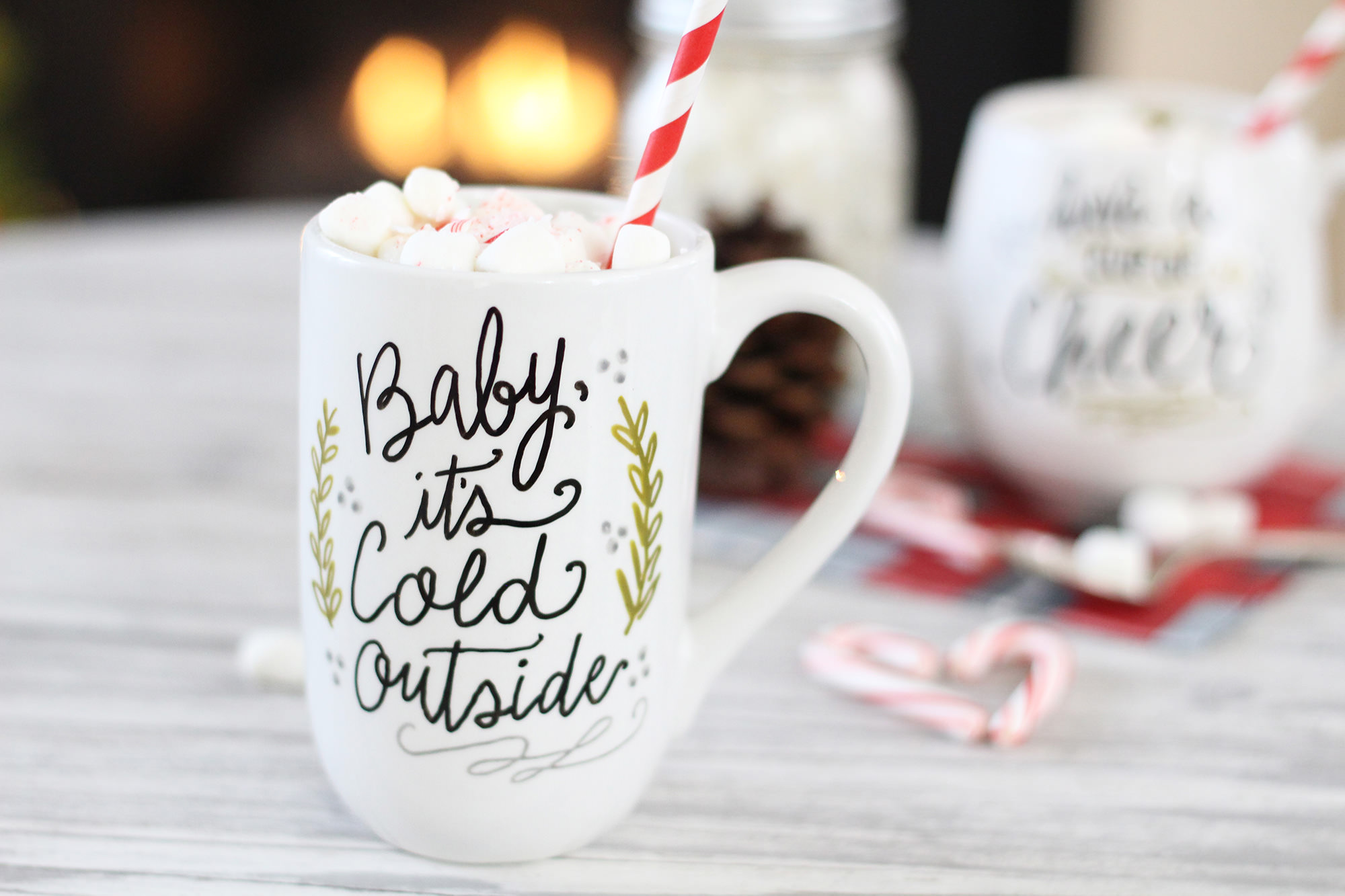 Hand-lettered, custom baby it's cold outside mug - bake in oven to make the design permanent