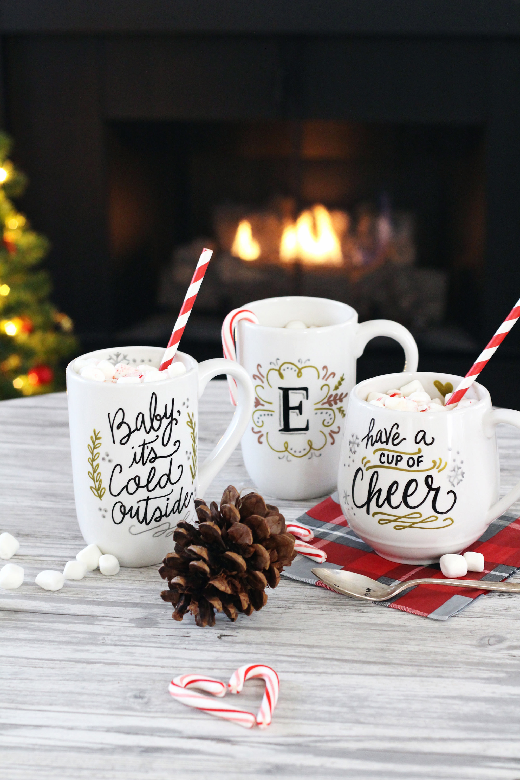 DIY hand-lettered holiday mug how-to using PaintedByMe Bake At Home Ceramics