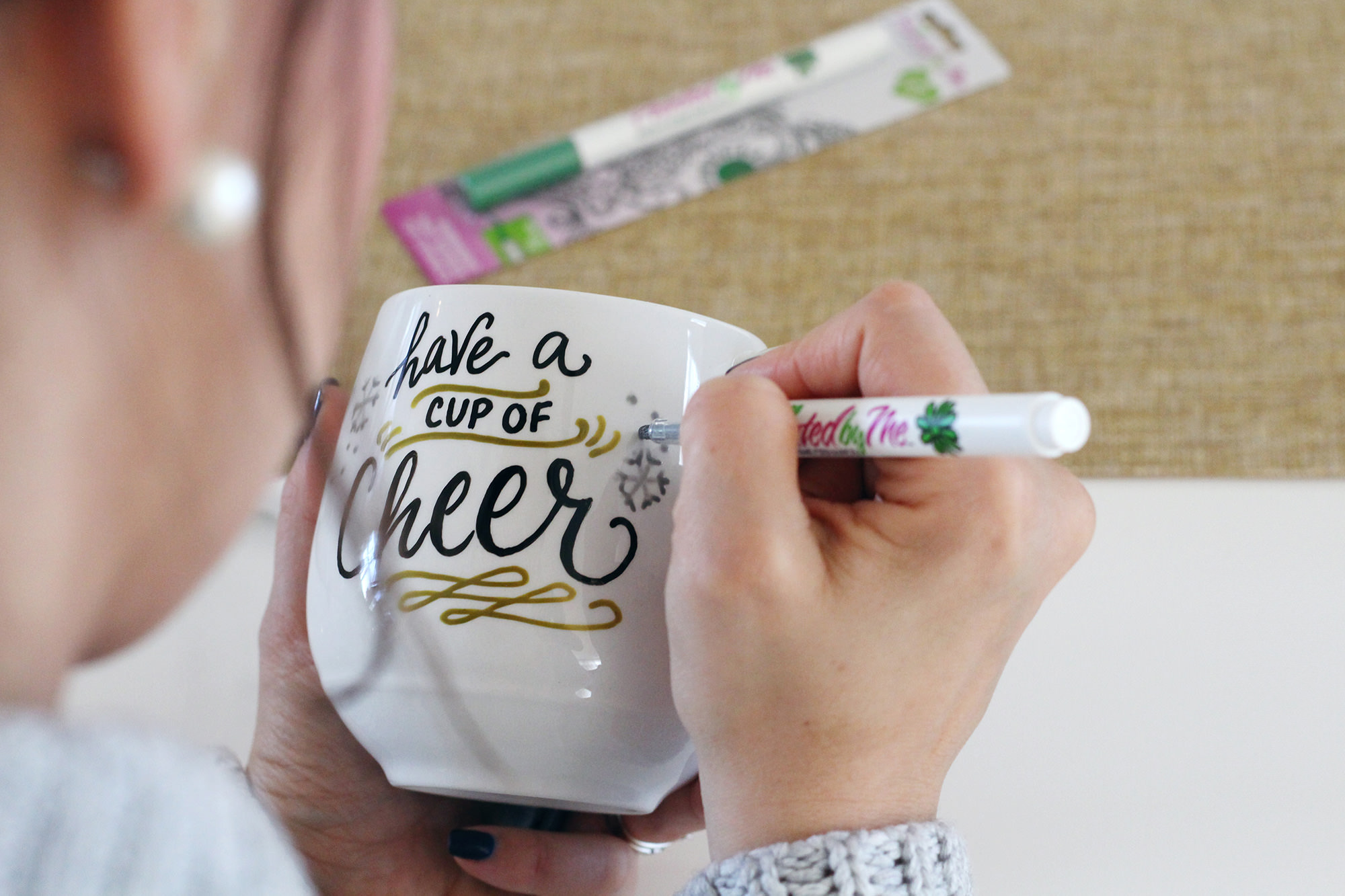 DIY Hand lettered mug with metallic accents