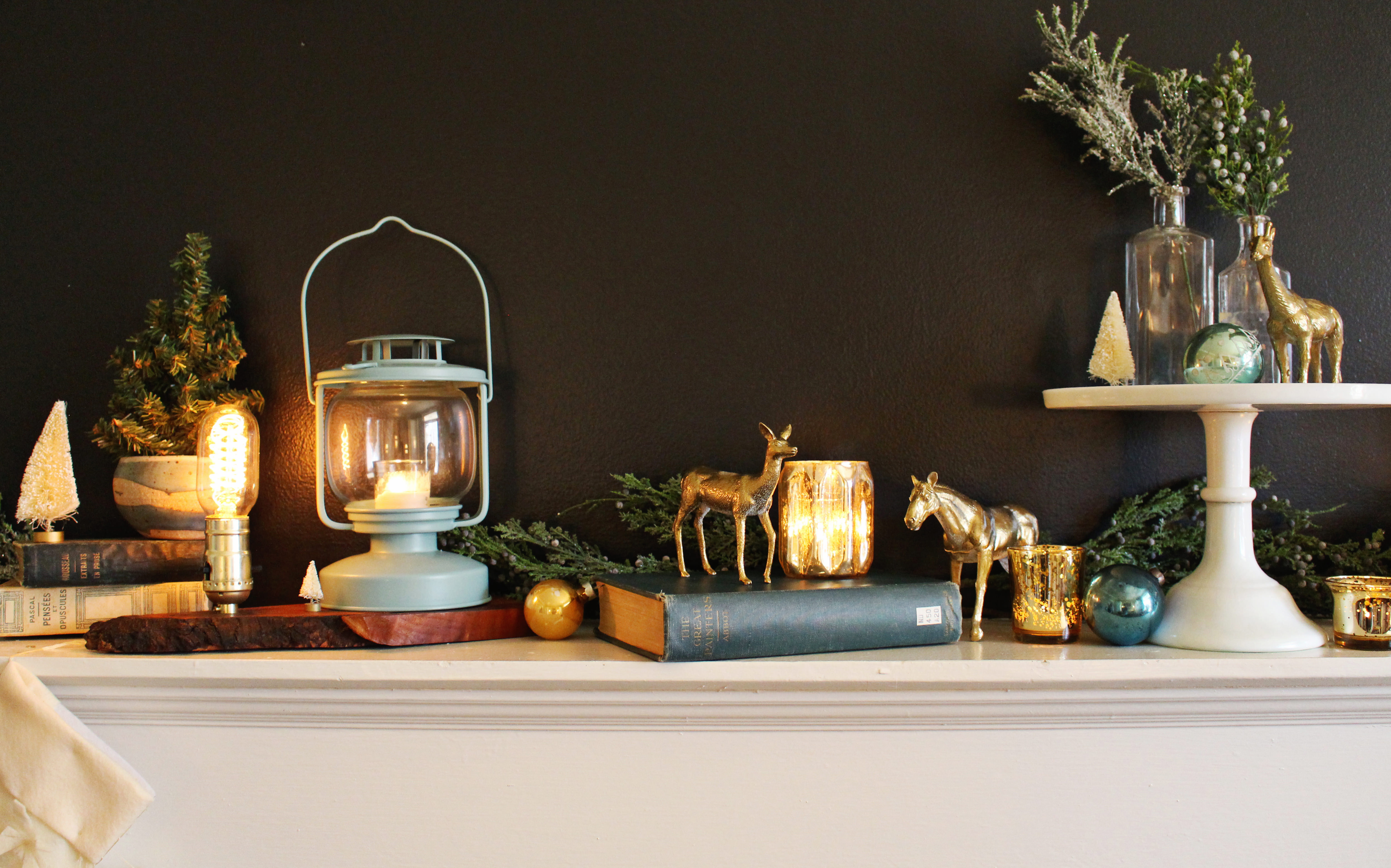 DIY gold animals are an unexpected holiday mantle details