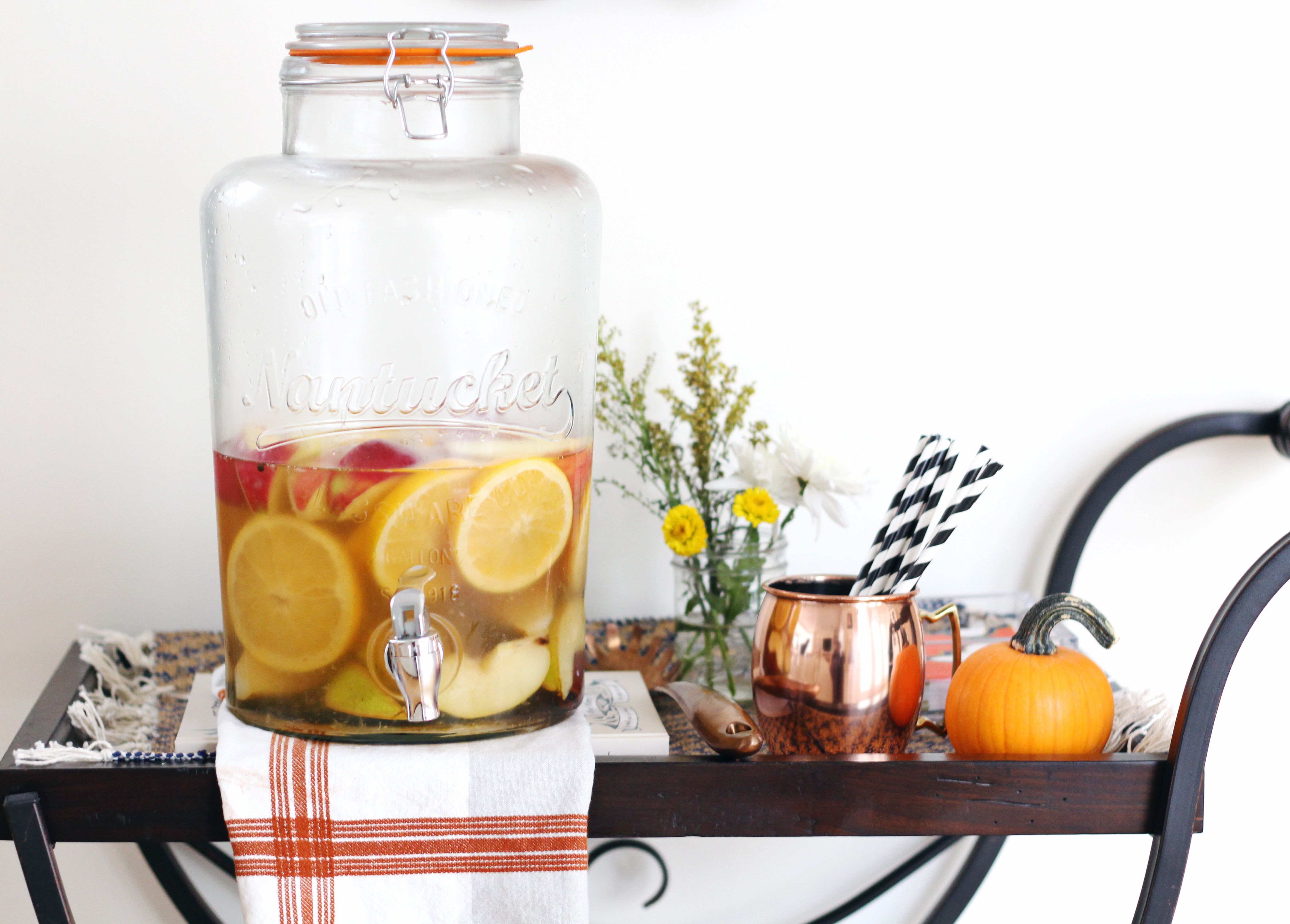 Spice White Fall Sangria for Thanksgiving Dinner