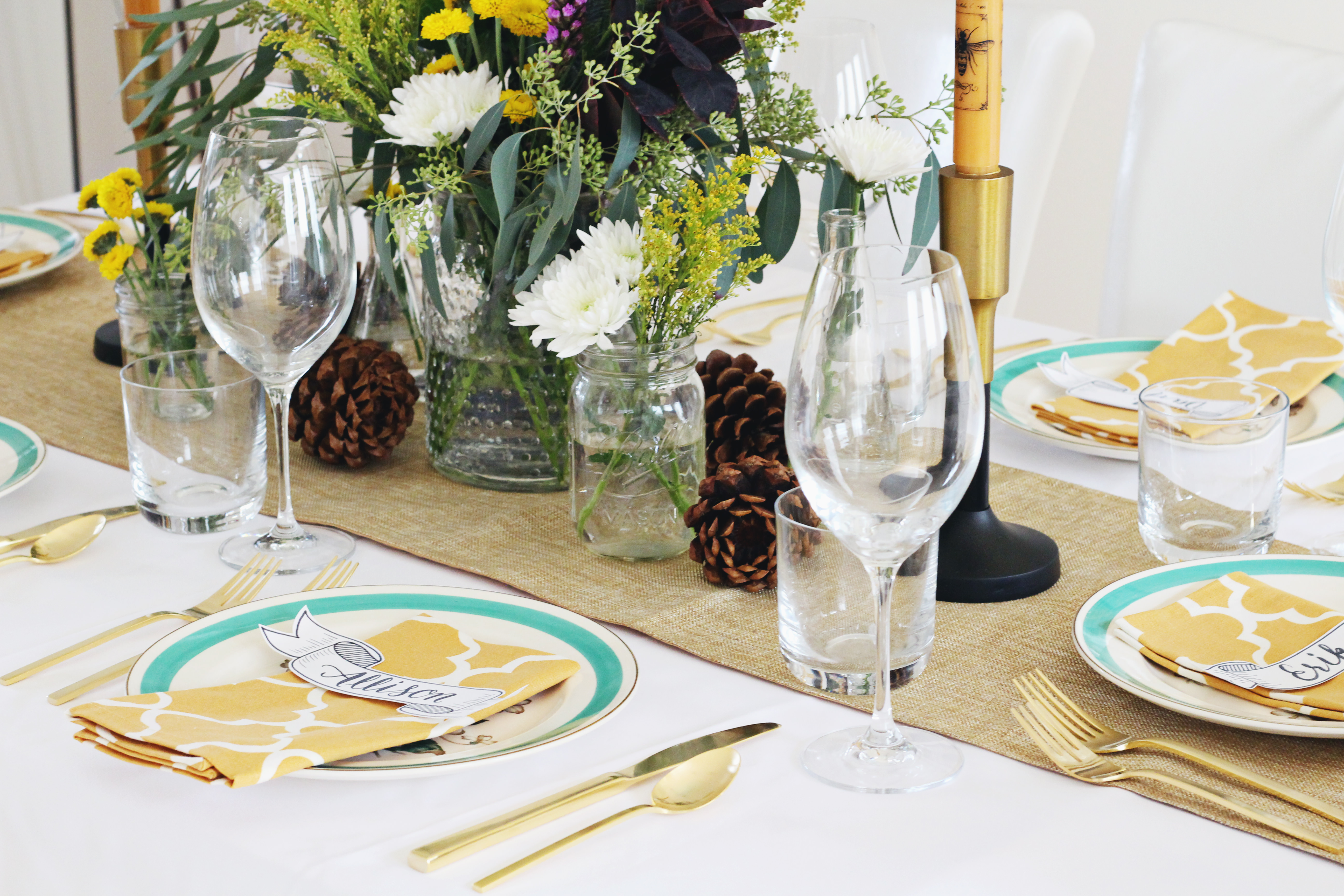 Elegant rustic Fall table setting
