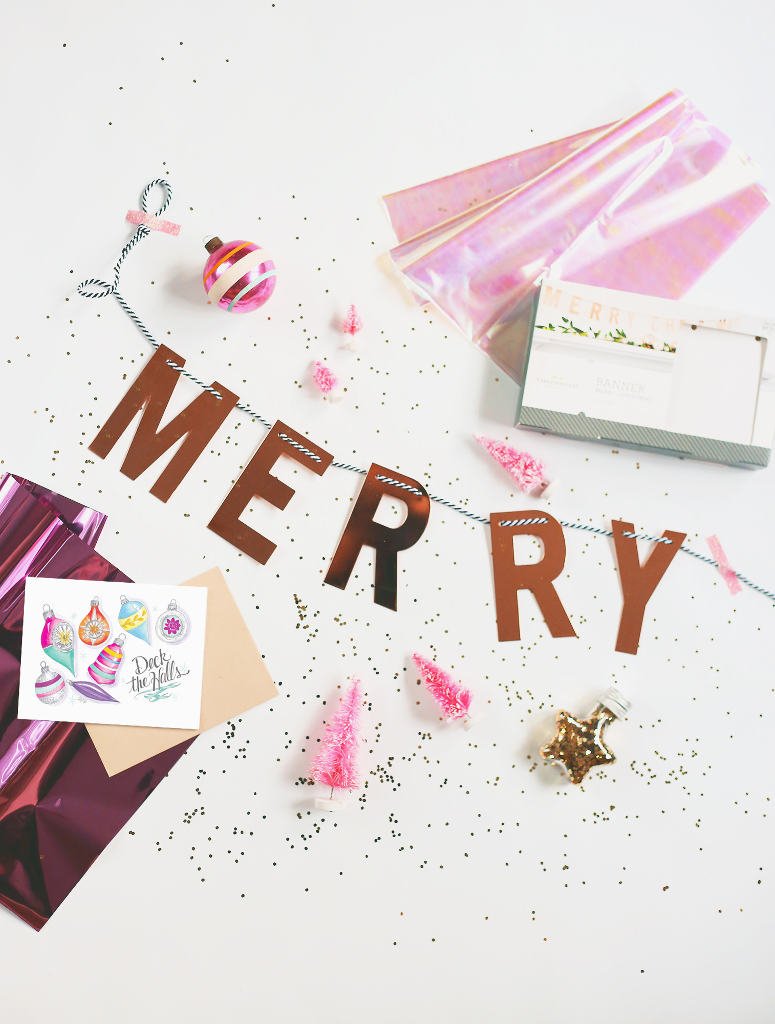 December's Happy Mail includes a festive gold banner, a vintage ornament and plenty of holiday sparkle!