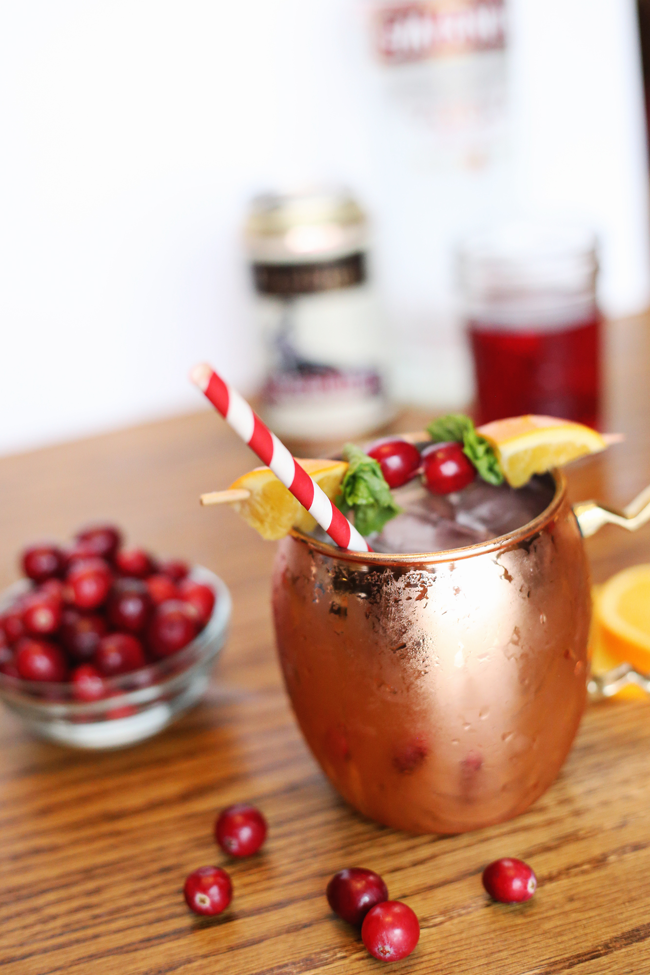 Put a festive twist on a Moscow Mule for the perfect holiday cocktail!