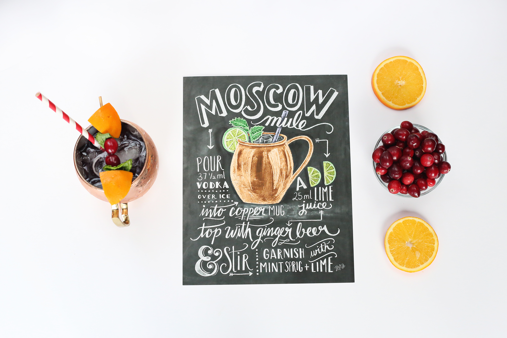 Inspired by our Moscow Mule Recipe print, we put a festive twist on the cocktail to make it the perfect christmas drink!