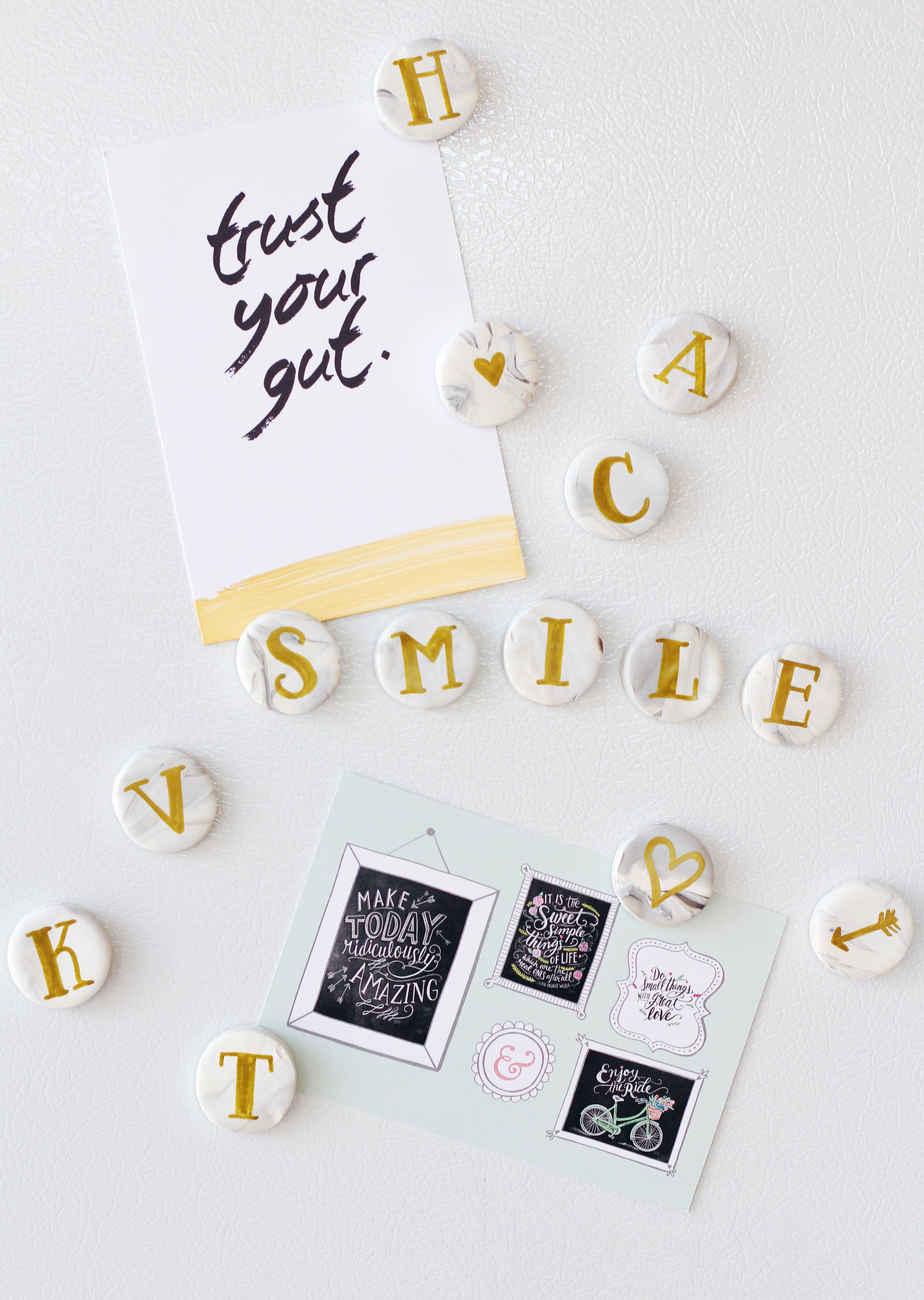 Alphabet magnets all grown up with gold hand lettered & marble clay -great DIY gift idea!