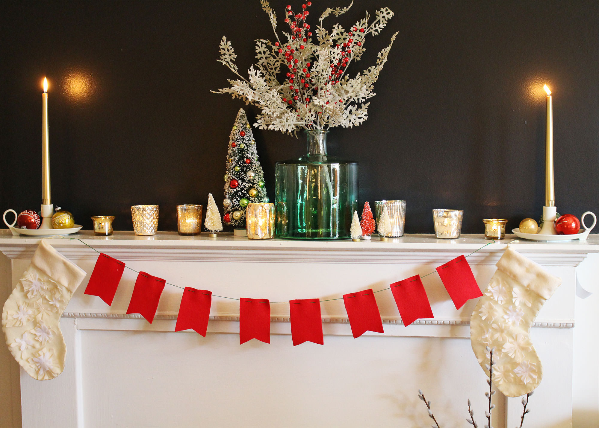 Holiday Mantel decorating inspiration from The Virginia Lynn Co.
