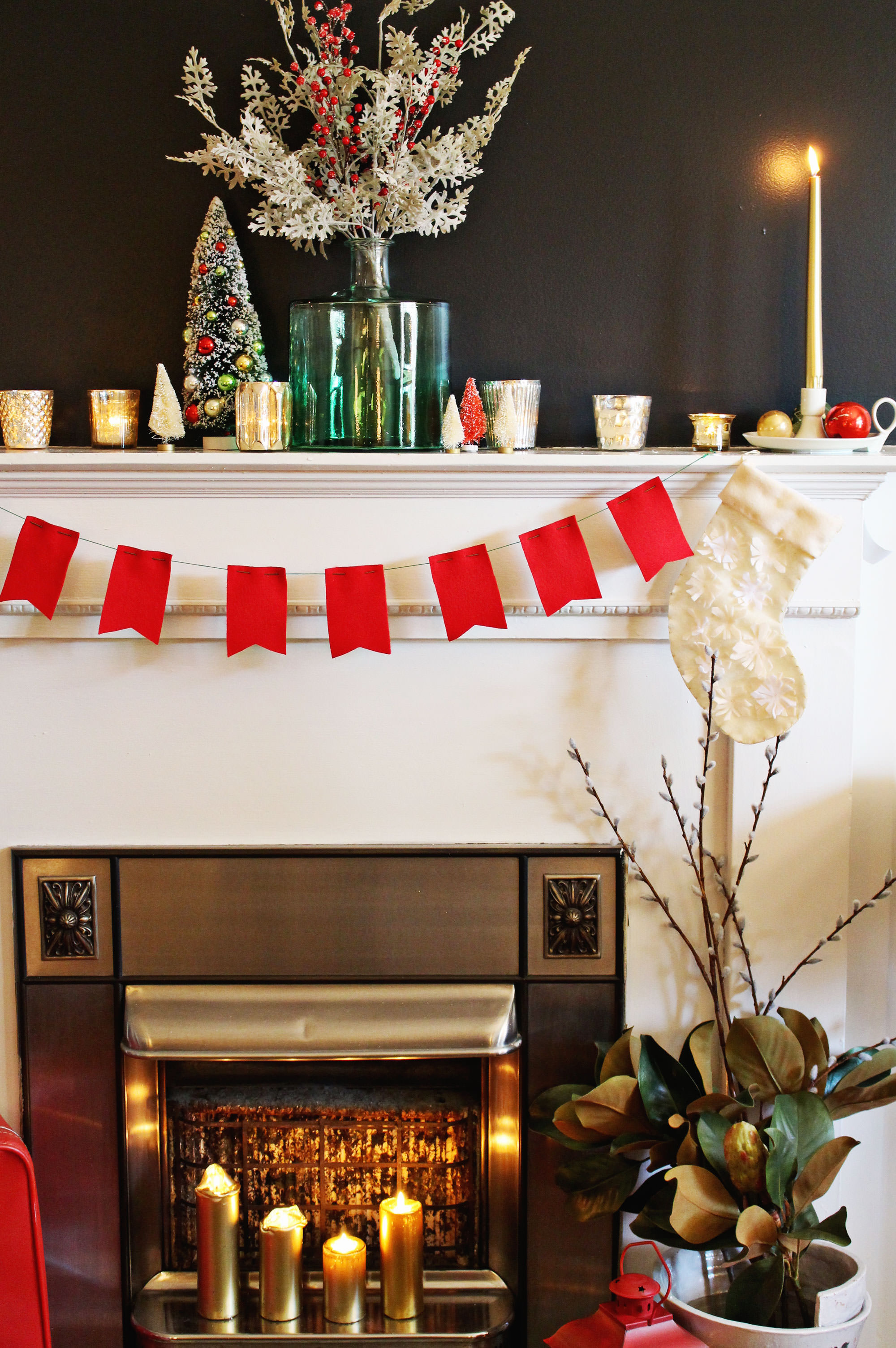 Holiday Mantel decor with antique accents