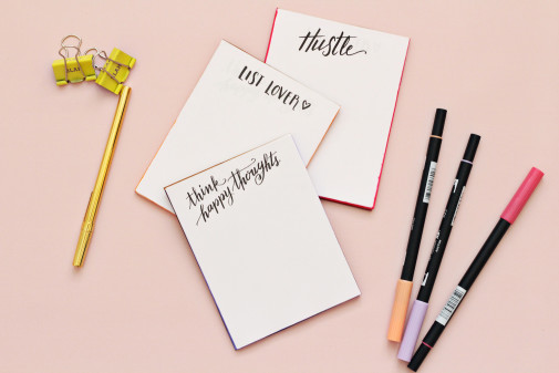 DIY Hand-Lettered Notepads
