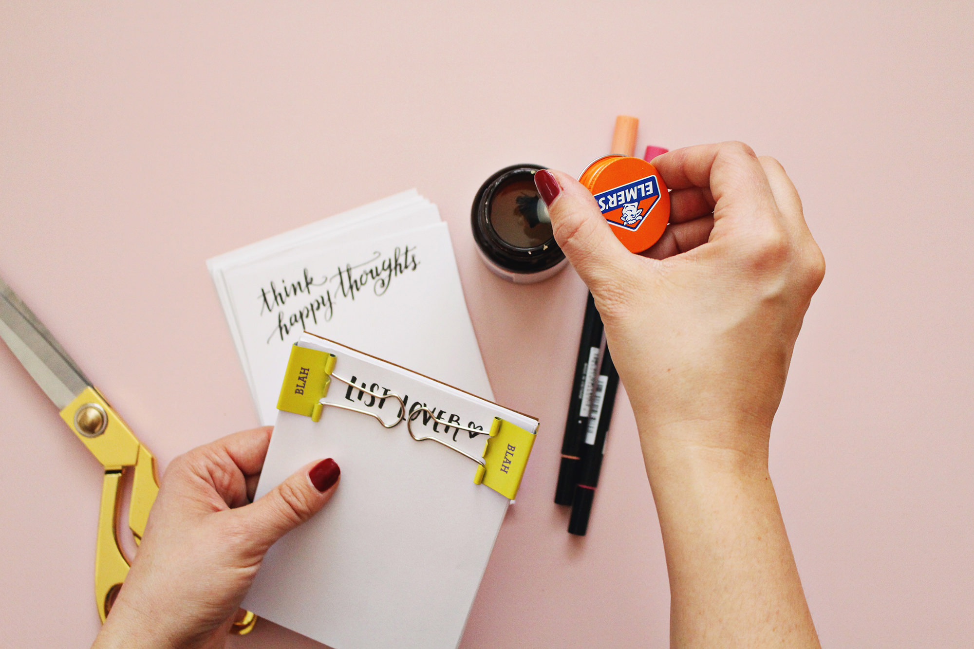 DIY hand lettered notepads