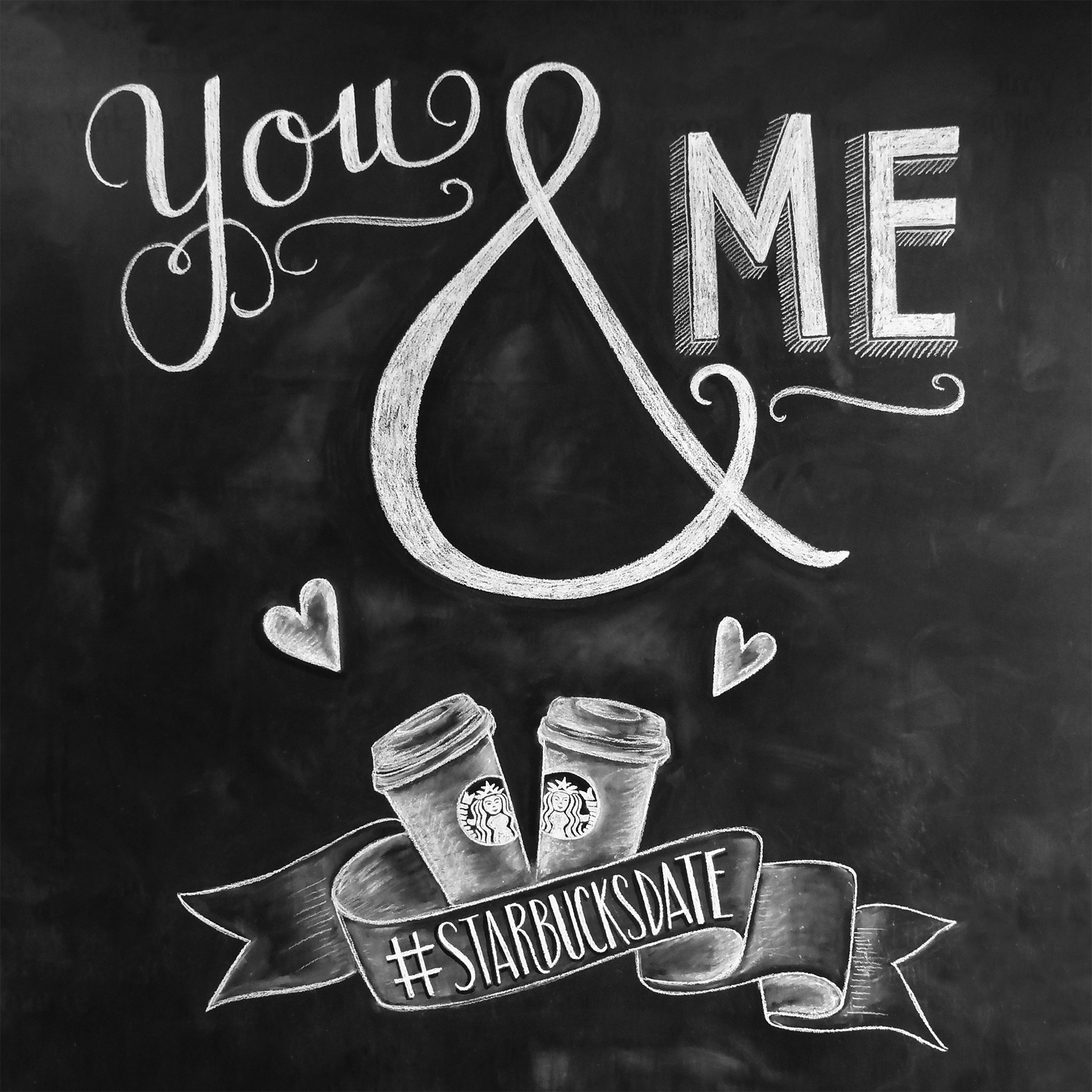 #starbucksdate chalkboard art designed by Valerie McKeehan for Starbucks