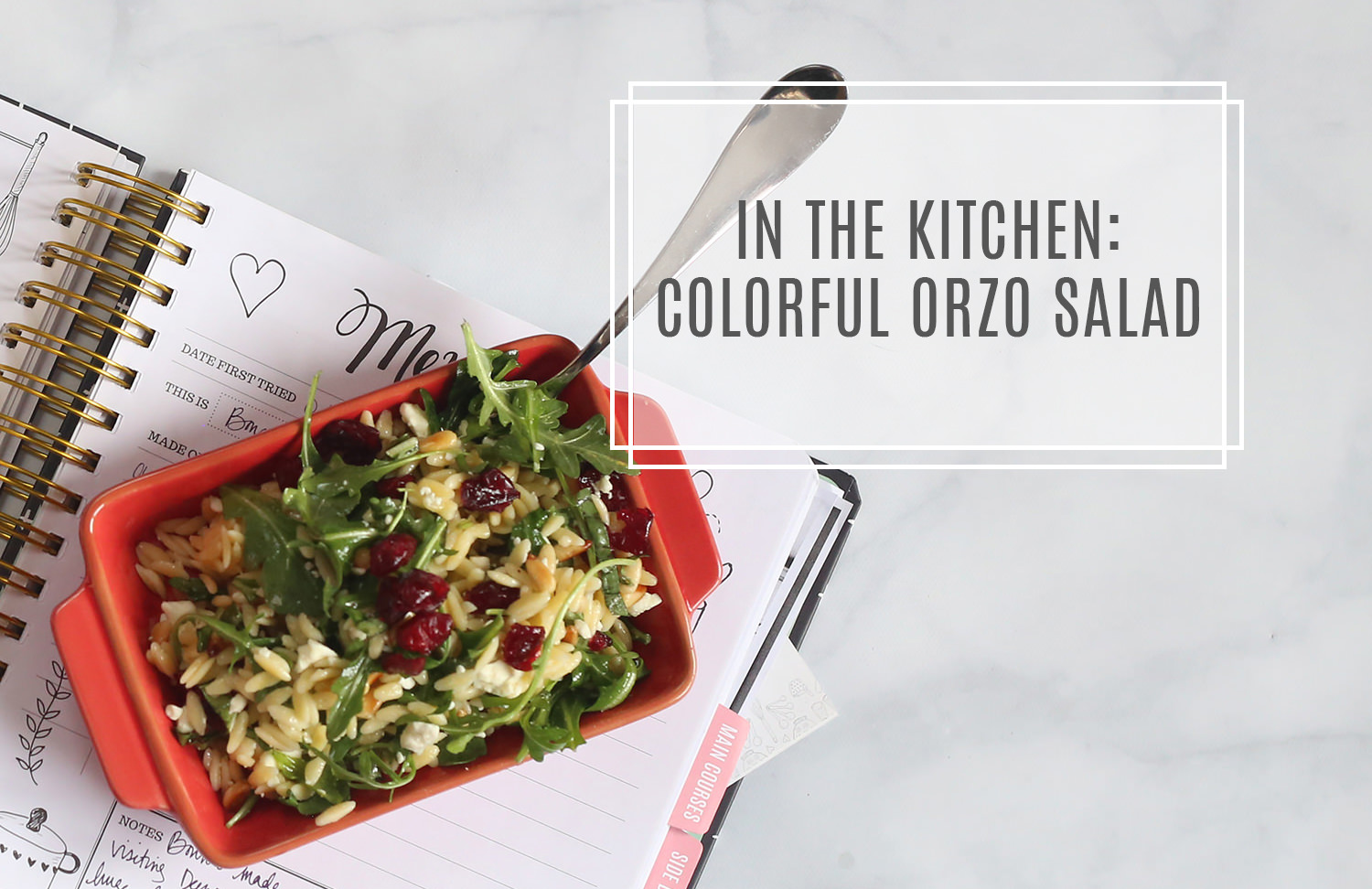 In the kitchen: a colorful orzo salad. Light and delicious, it's a healthy option for the new year!