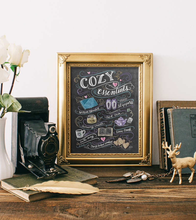 Cozy Essentials Chalk Art Print by Lily & Val