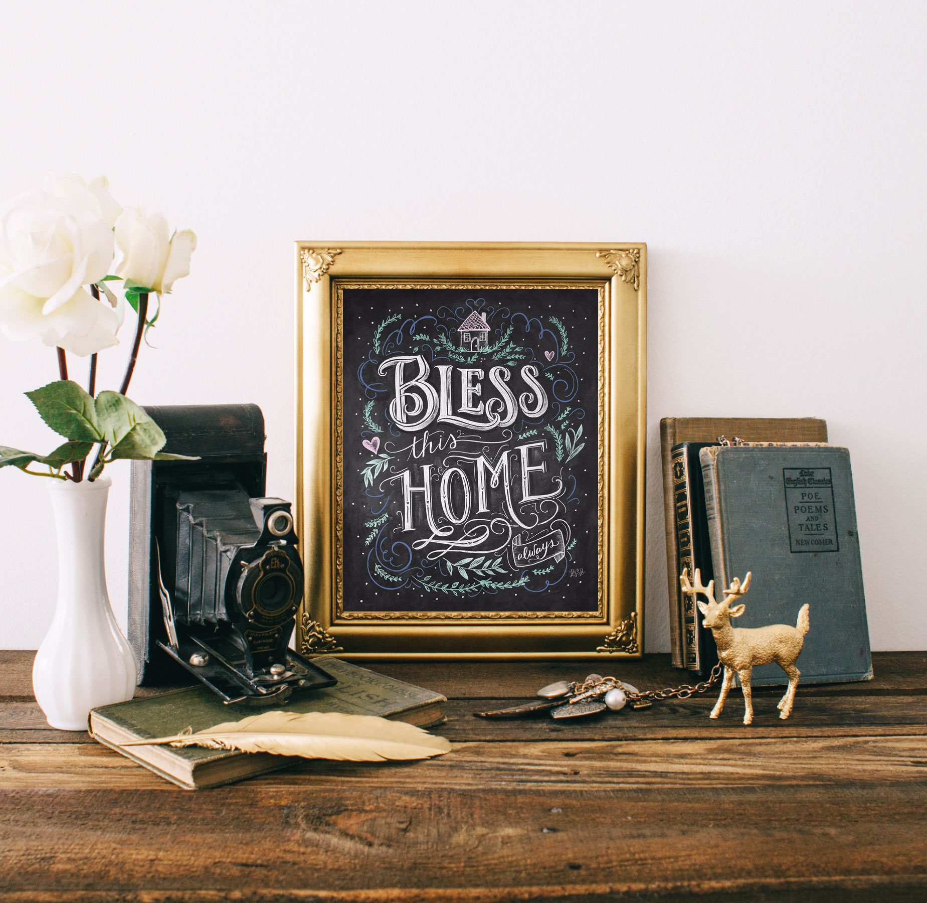 Bless This Home Chalk Art Print Hand-drawn by Valerie McKeehan