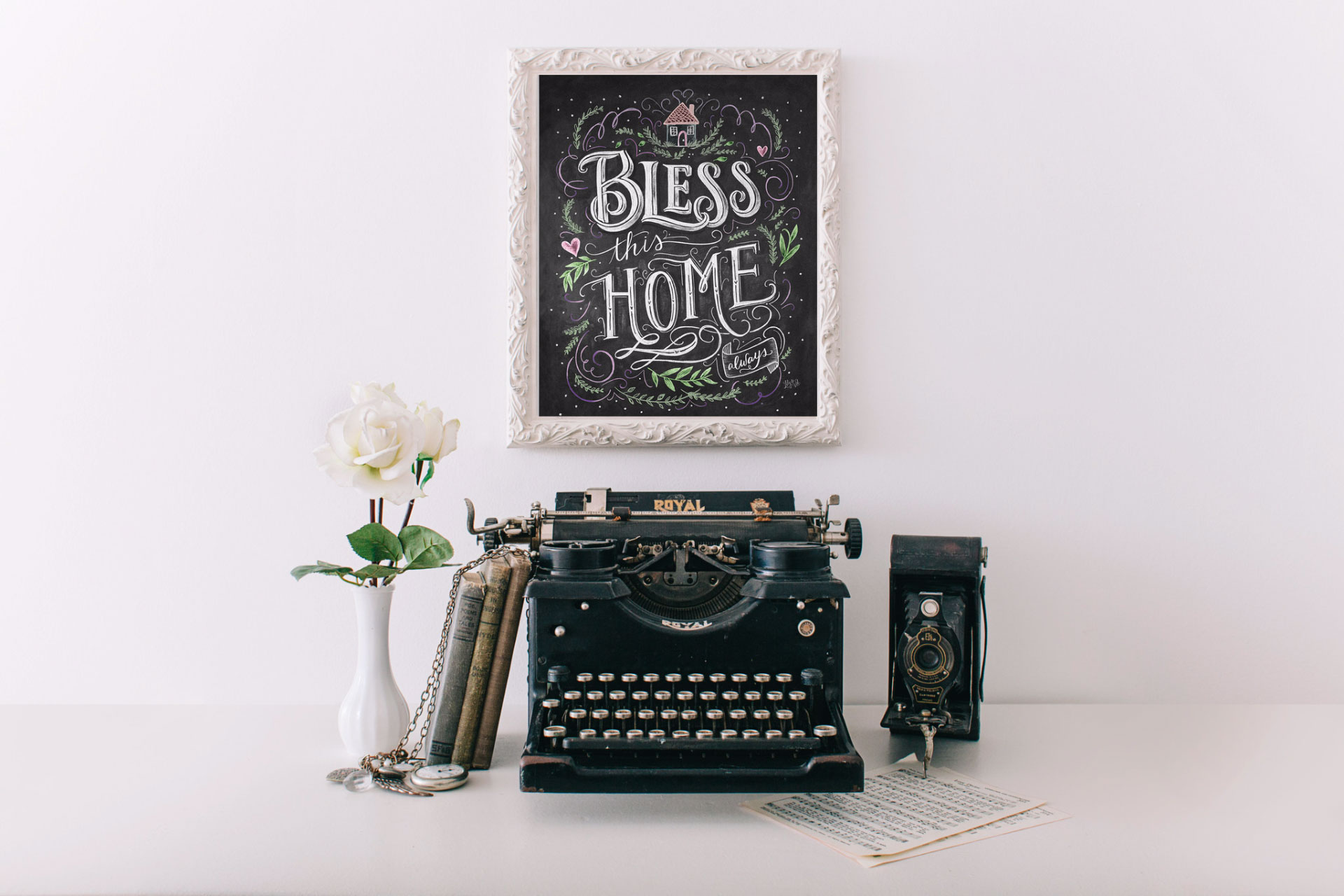 Vintage Home Decor- Bless this home Chalk Art Print