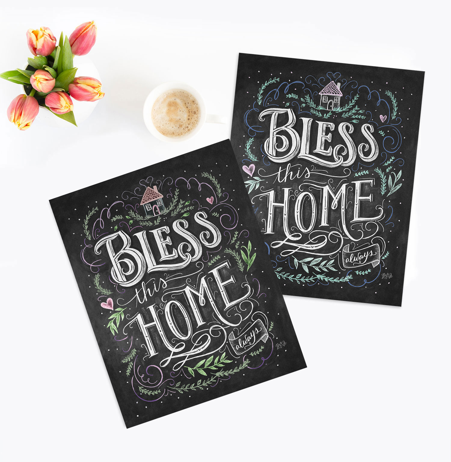 Bless This Home Chalk Art Print in two colors
