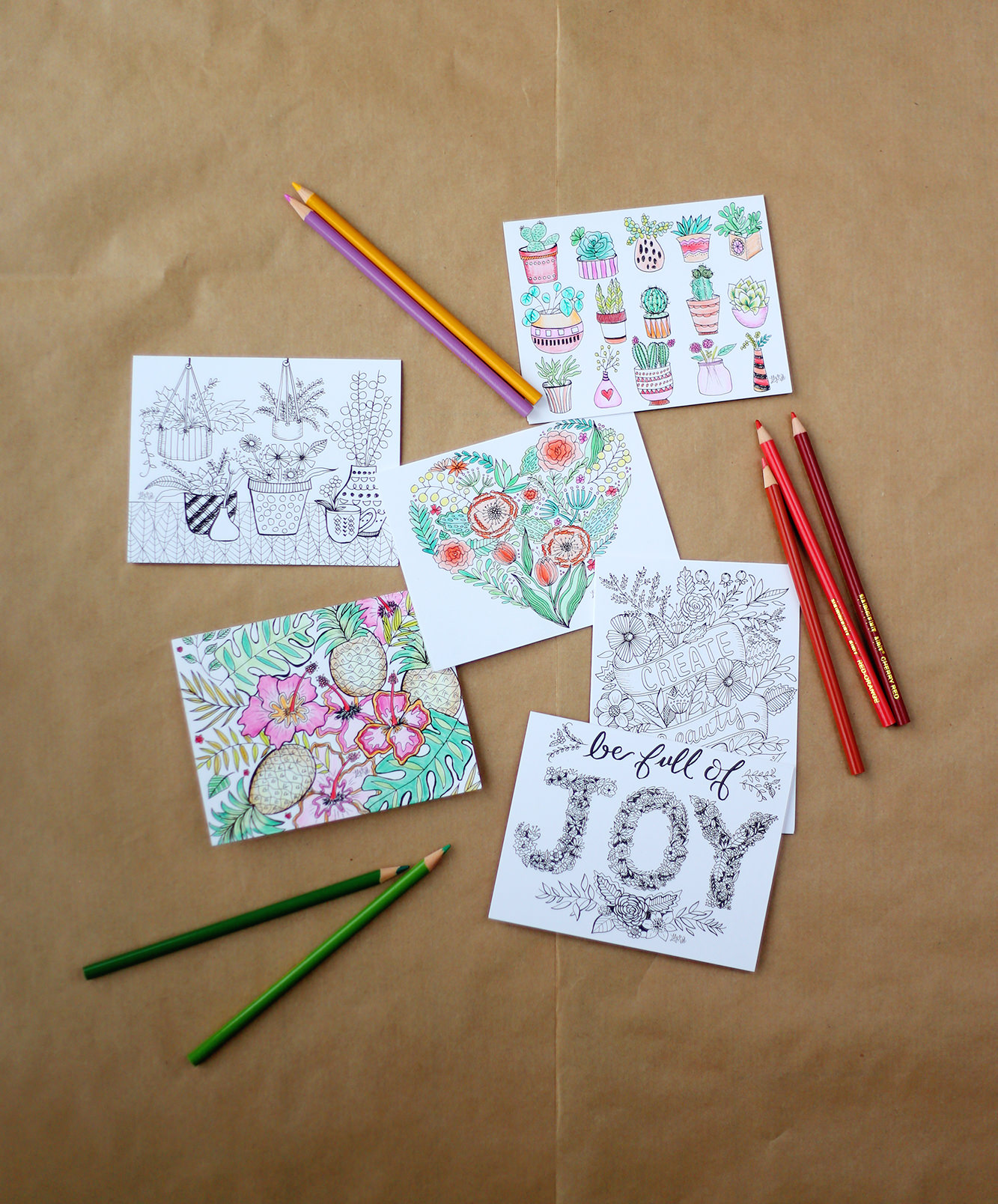 Receive eight assorted botanical and floral designs in our coloring notes set! Color the cards however you like!