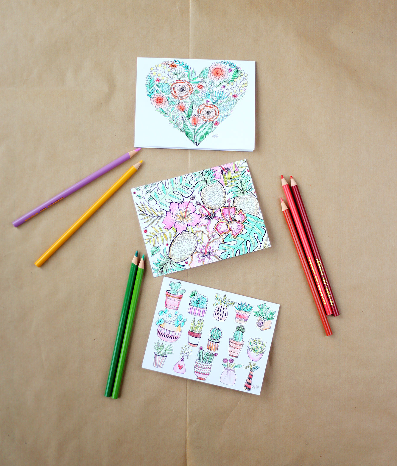 These three cards are included in the Lily & Val assorted coloring notes set. Color them and send them off!