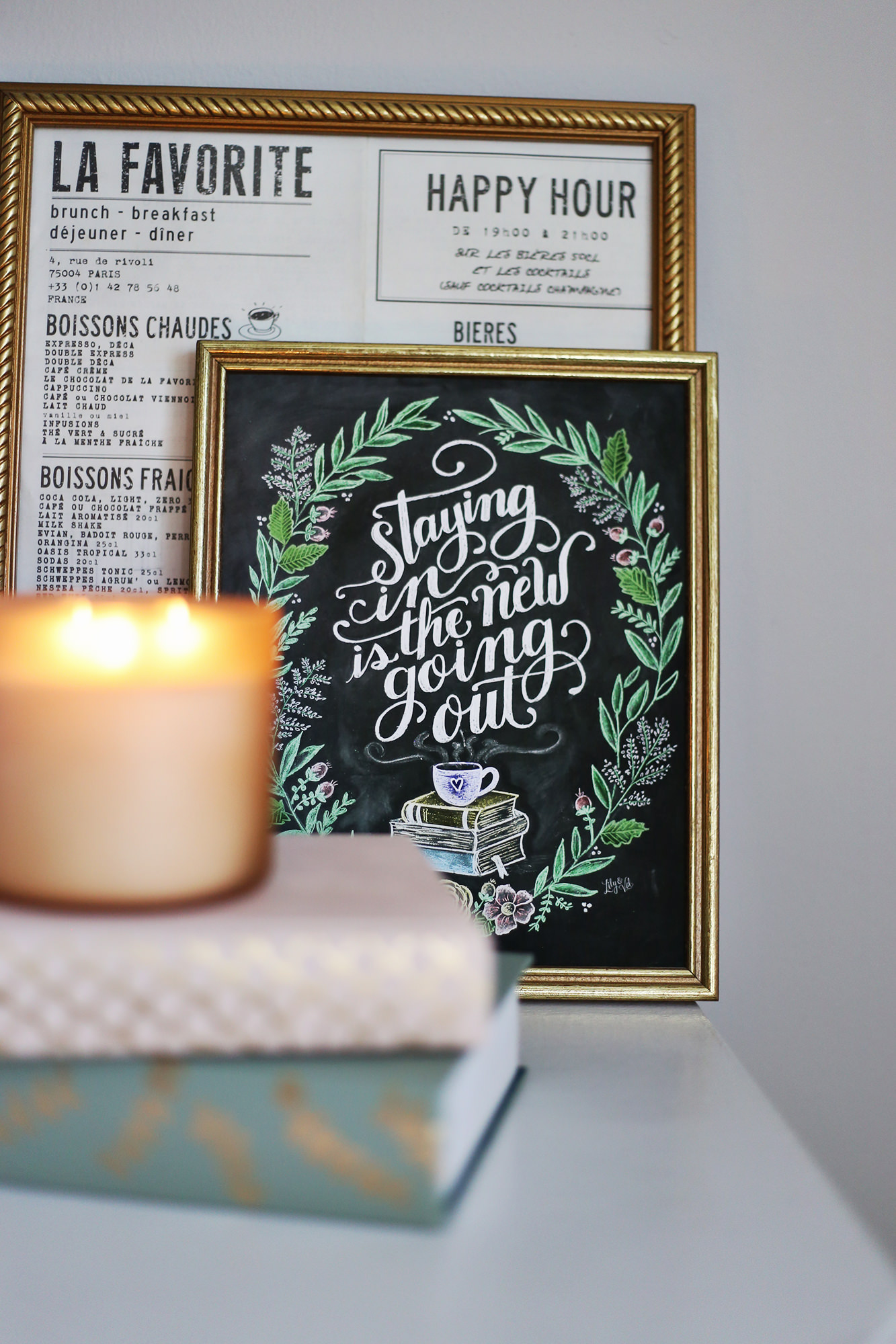 Hygge in the spring: Staying in is the new going out -chalkboard art print by Lily & Val.