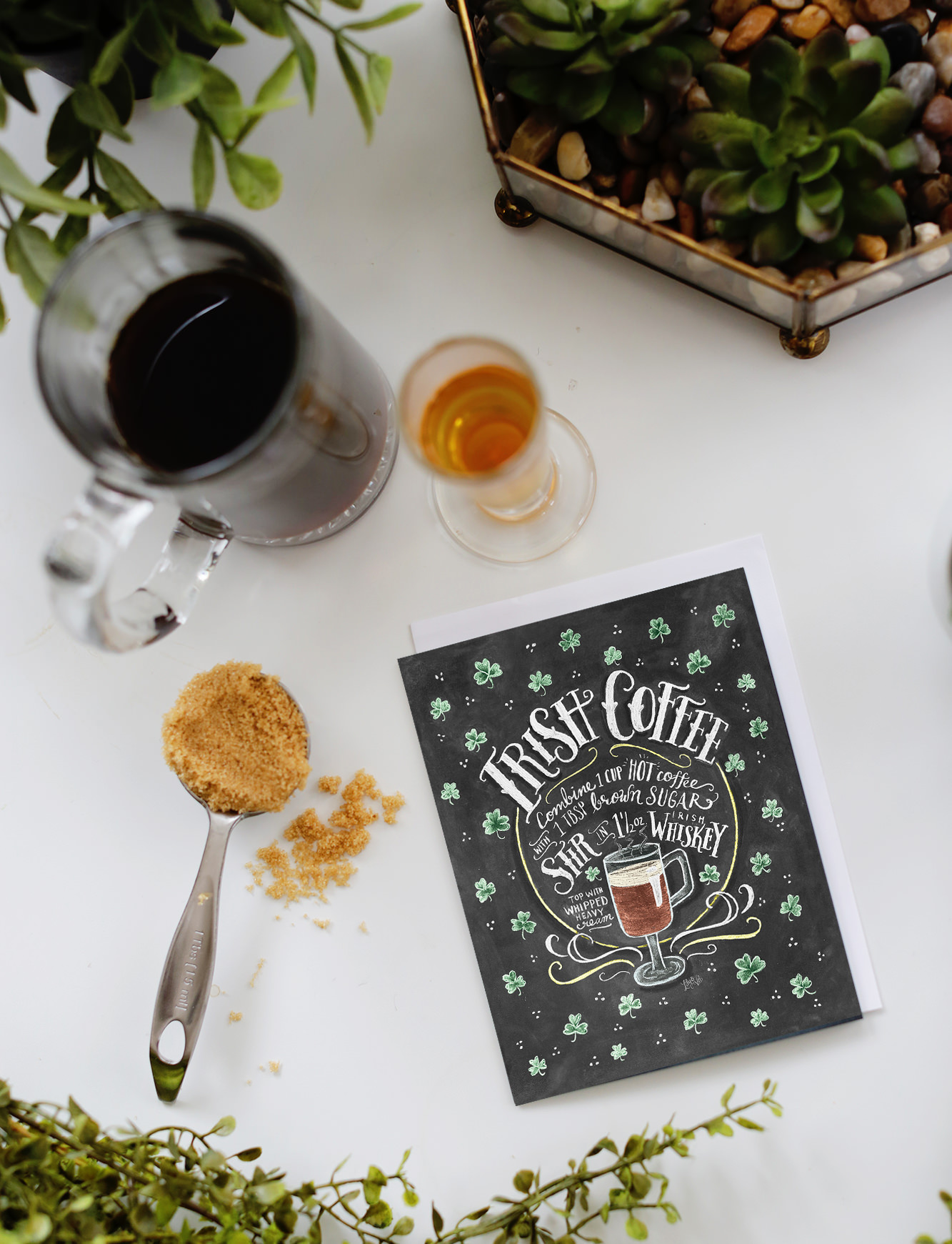 Our Irish Coffee Recipe card is great to send, and also to use! Mix up a glass of Irish Coffee this St. Patrick's Day!