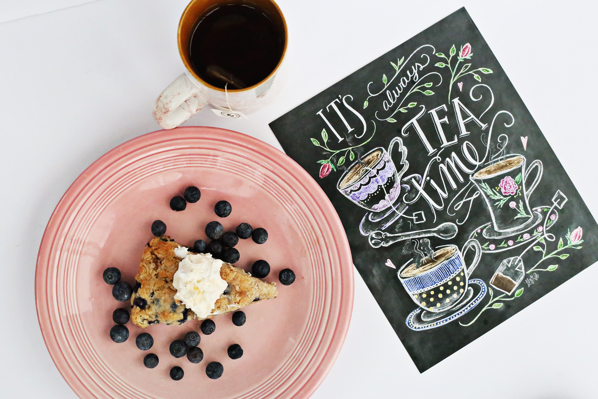 It's always tea time, especially if it's paired with blueberry scones! Get the recipe on Lily & Val Living!