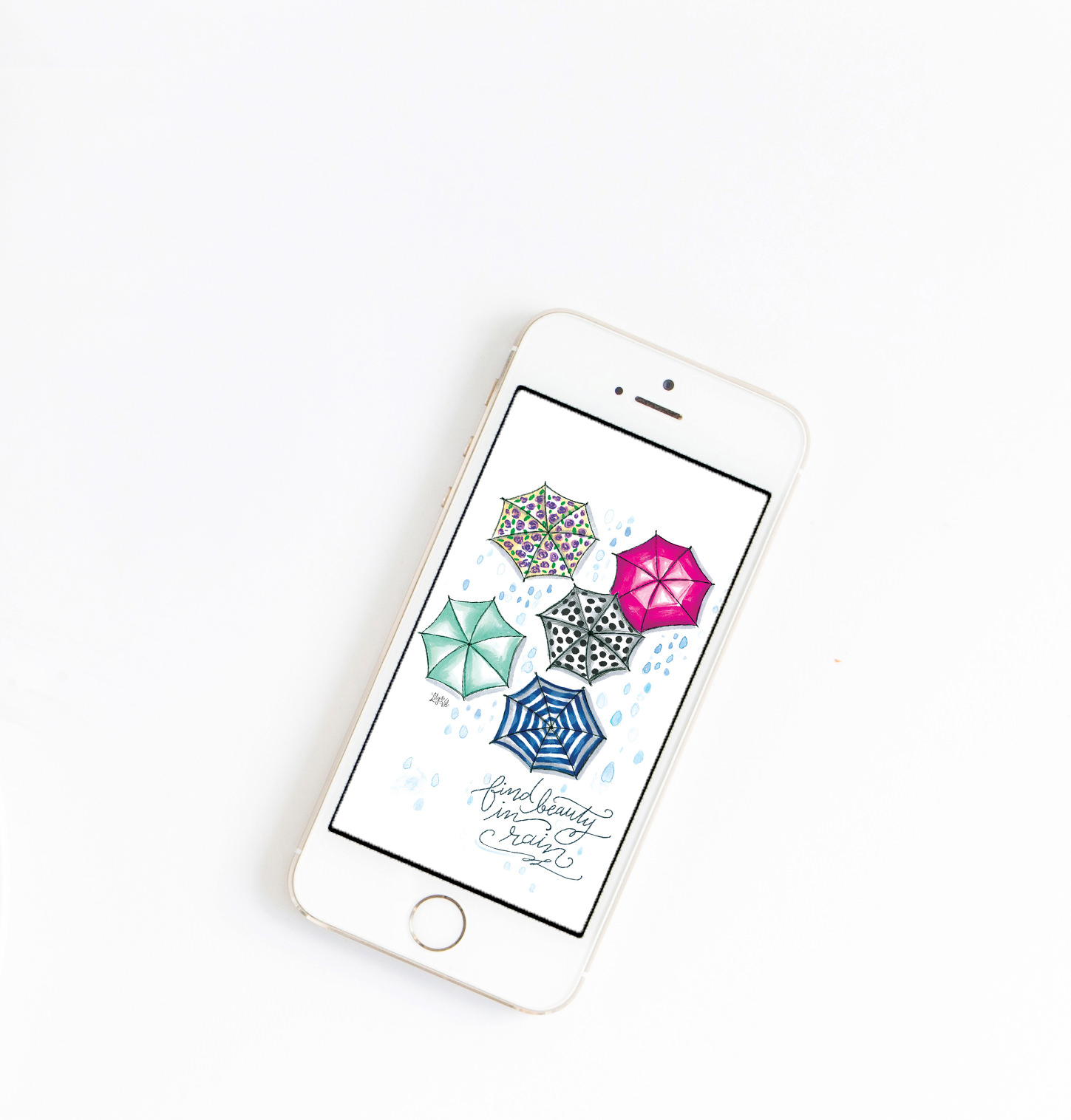 Add umbrella art to your iPhone with Lily & Val's April download!