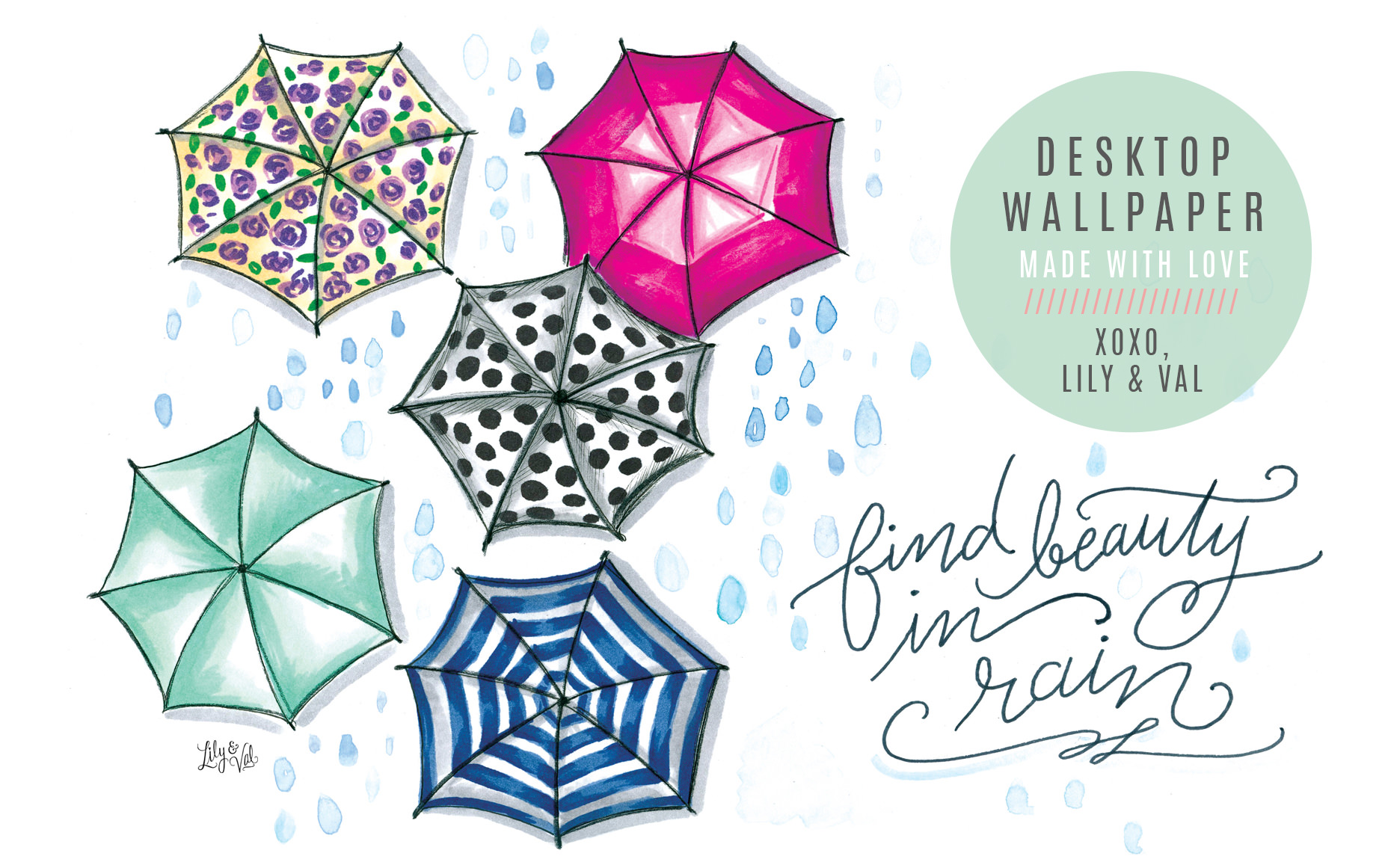 """Find Beauty in Rain"" free desktop for April on Lily & Val Living!"