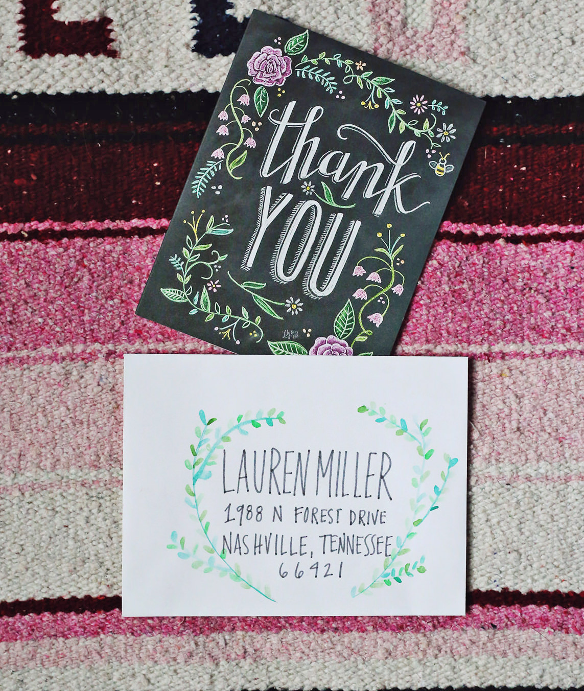 Watercolor laurels are the perfect, artistic touch to complement this Lily & Val floral thank you card