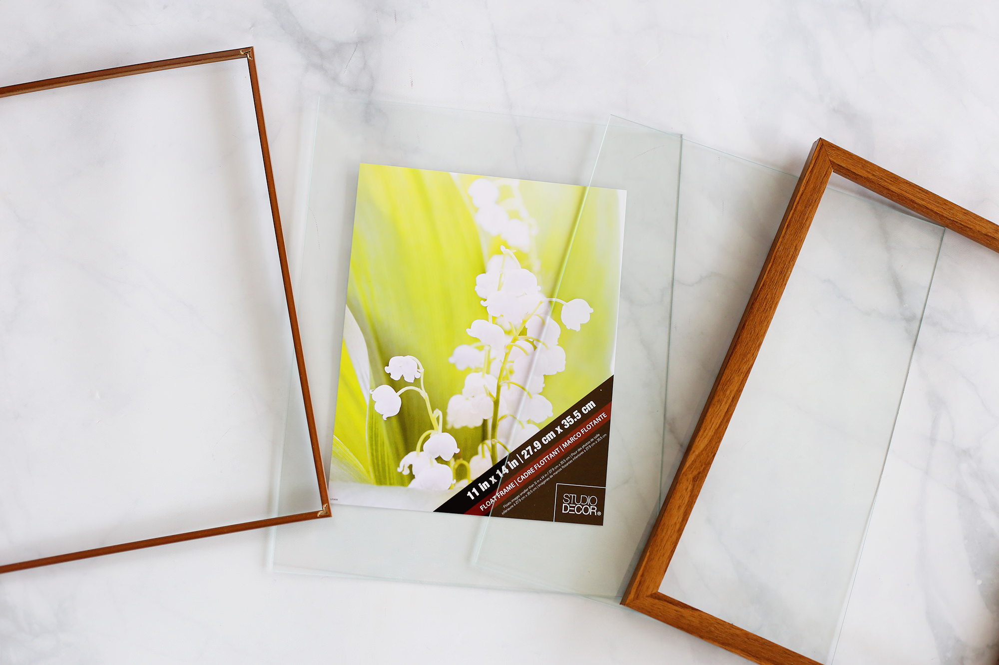 Display your pressed petals in a floating glass frame! To find out how to press flowers, visit Lily & Val Living!