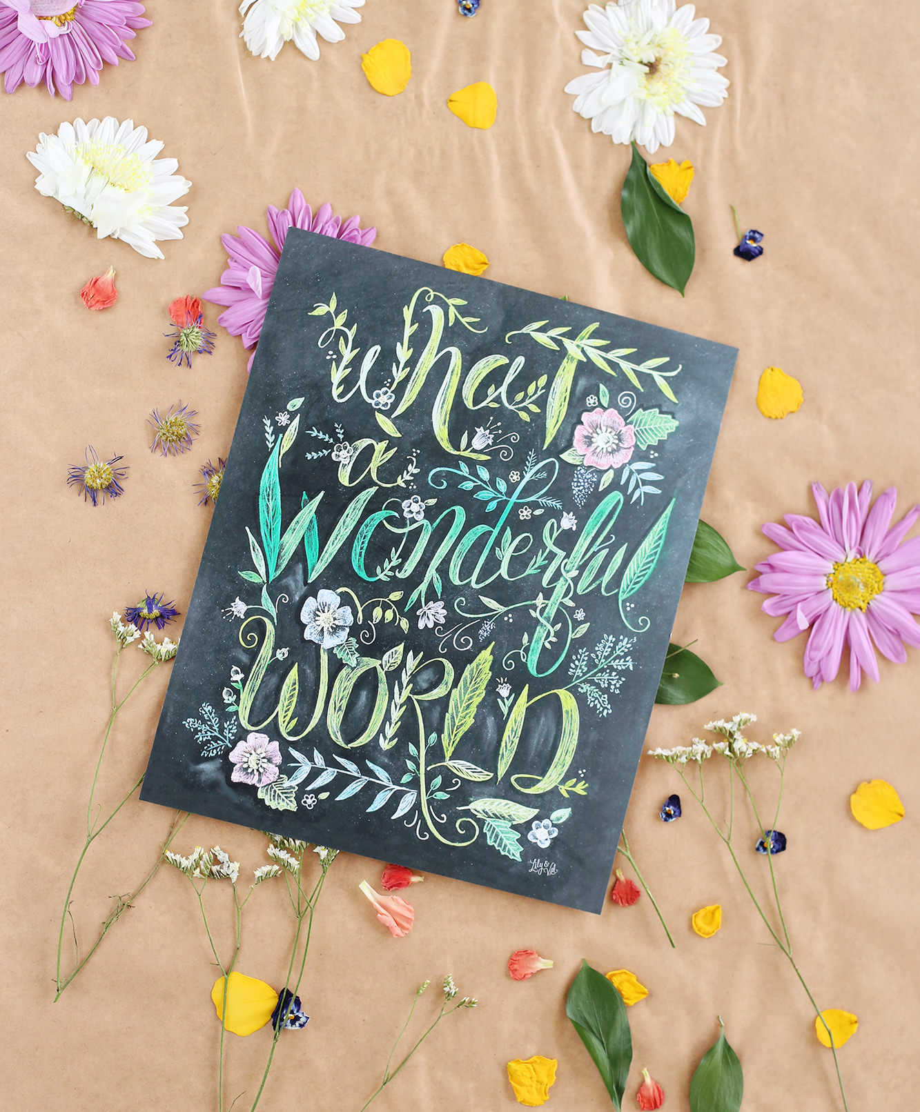 "We were inspired by our ""What a Wonderful World"" print to try flower pressing! Visit the blog for the results!"