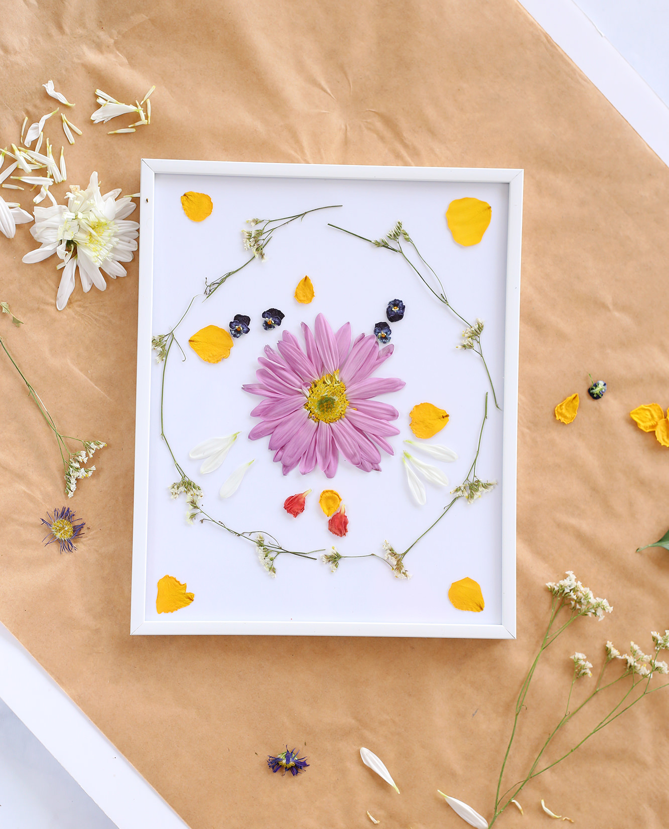 Display pressed flowers using a regular frame with a white or colored background!