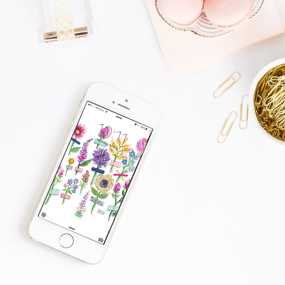 Download our beautiful washi tape flower background for your new iPhone wallpaper!