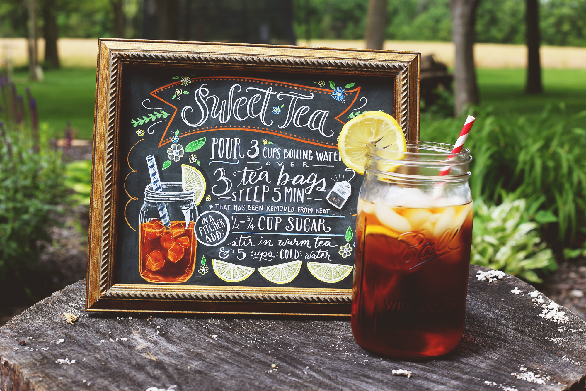 The perfect print for Sweet Tea lovers- an illustrated chalk art sweet tea recipe by Lily & Val