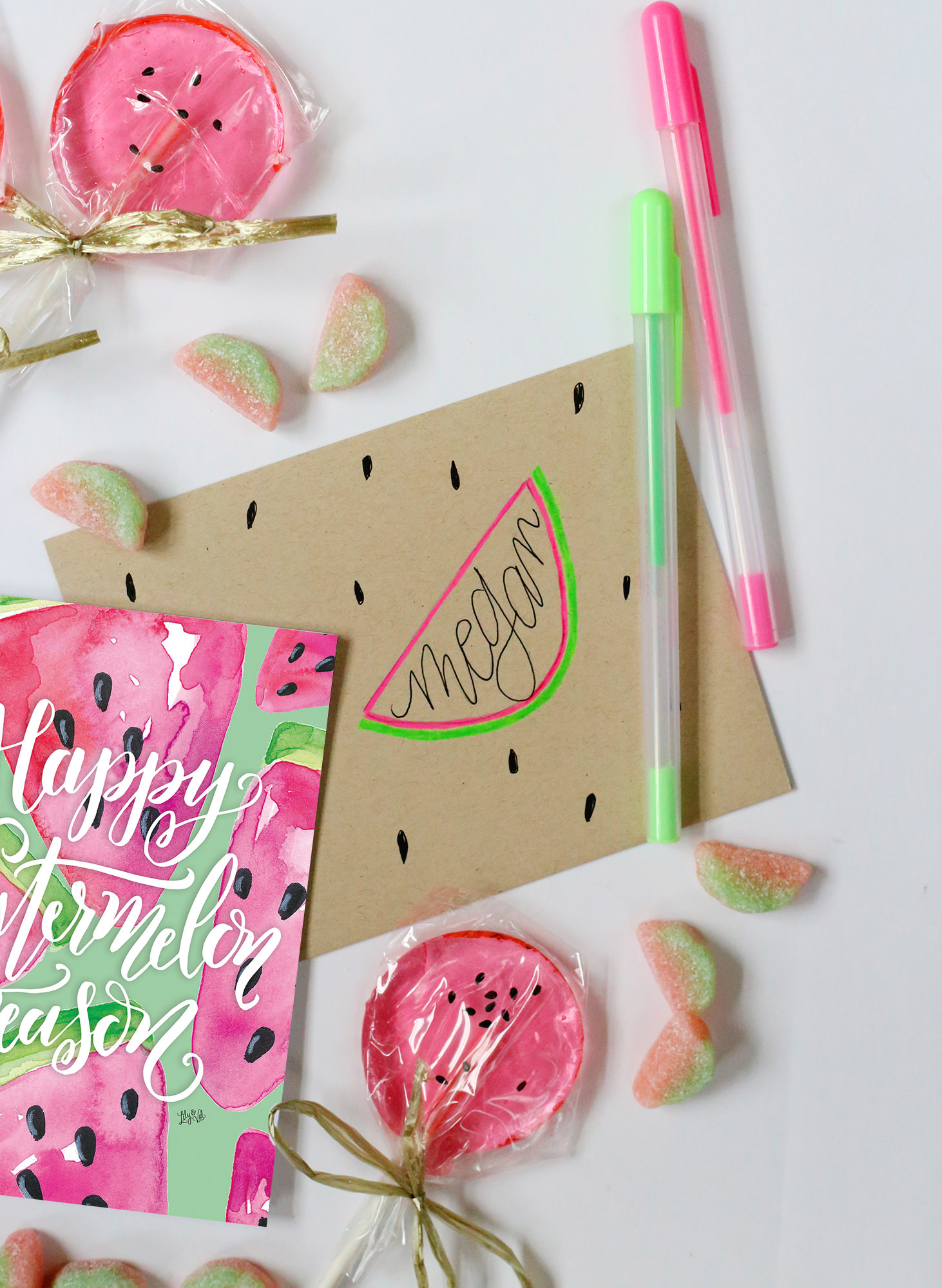 Watermelon-inspired envelope via Lily & Val Living. Summertime snail mail!