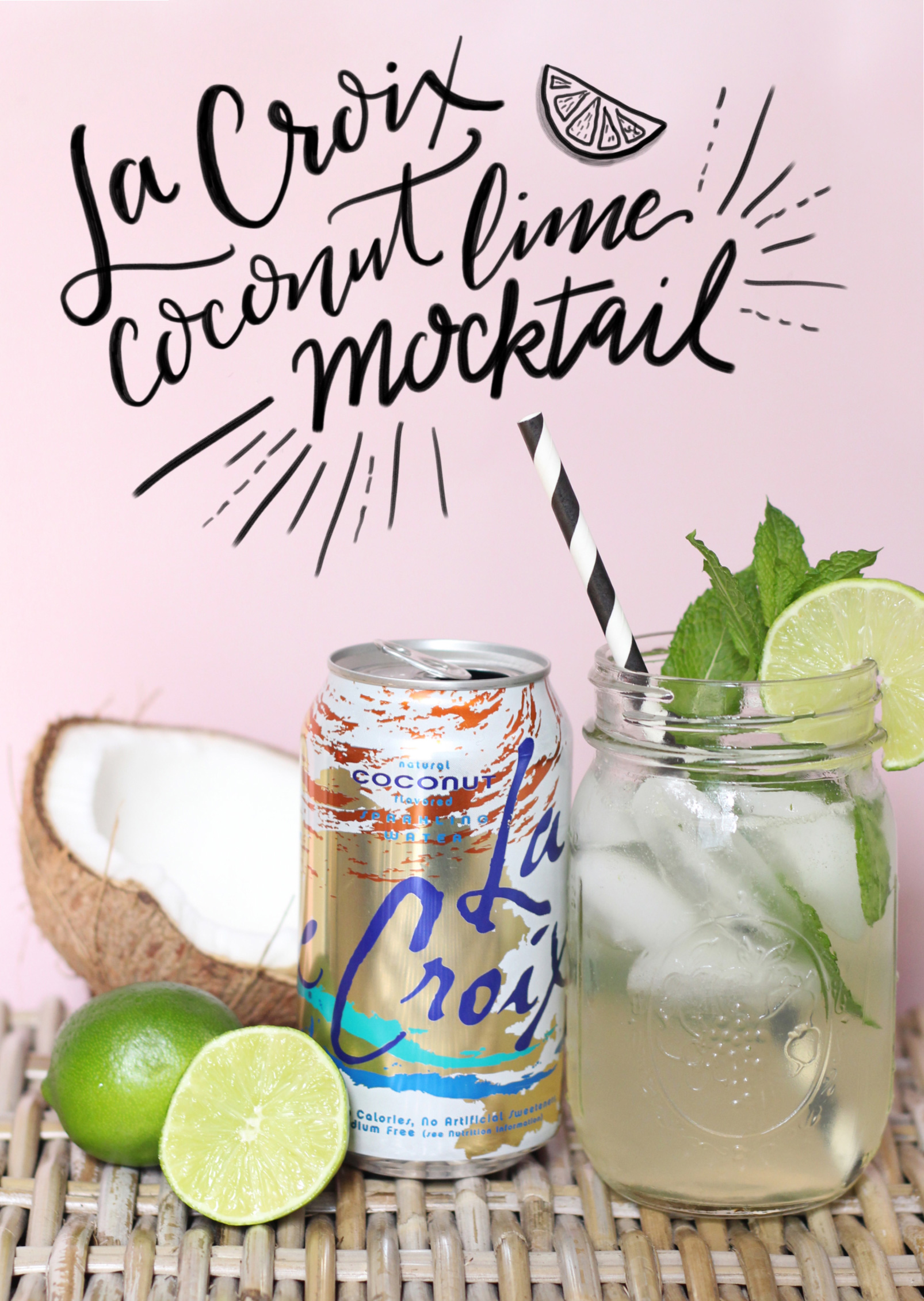 La Croix Coconut Lime Mocktail Recipe on Lily & Val Living.