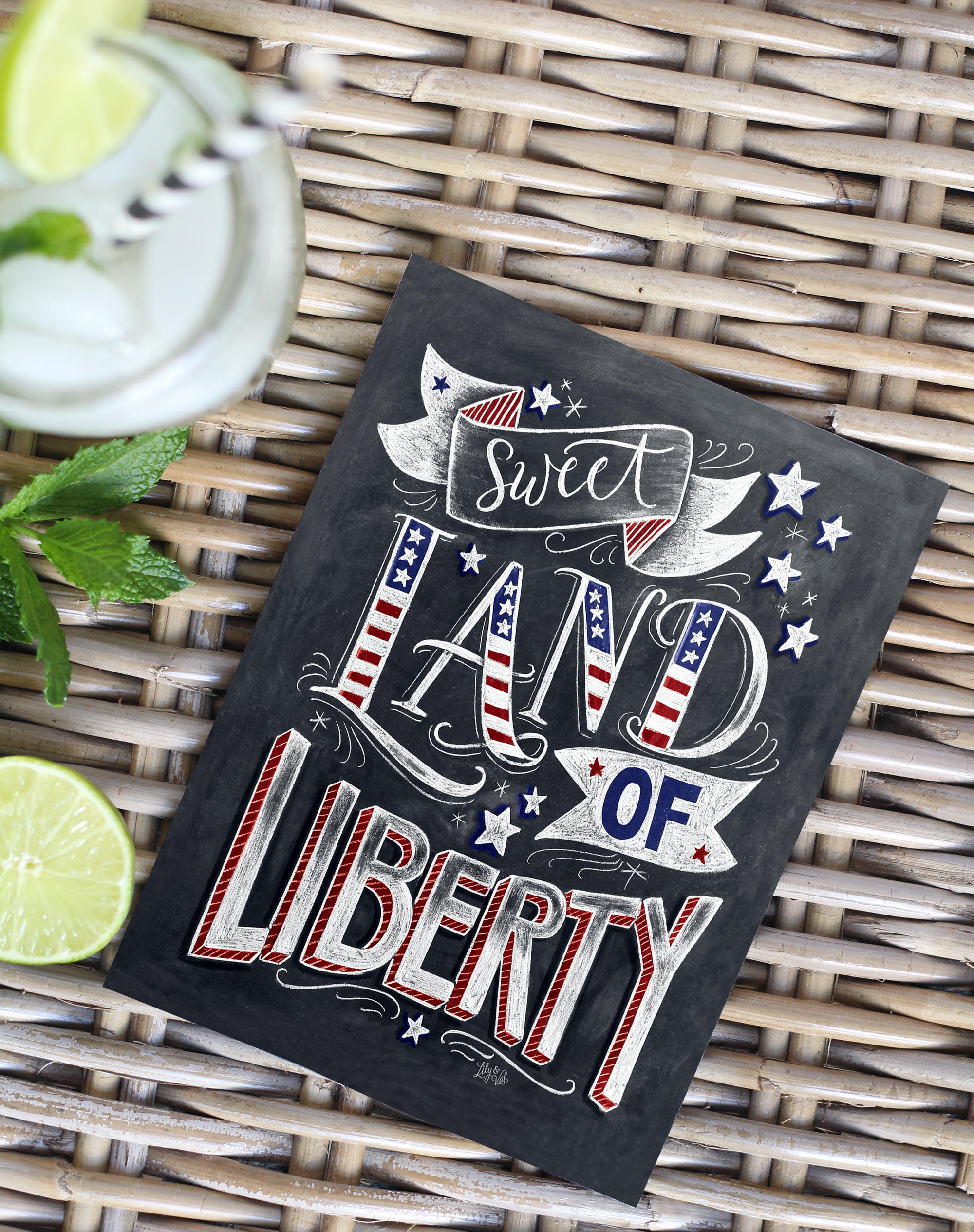 Sweet Land of Liberty Chalk Art Print available on lilyandval.com; Perfect decor for your 4th of July parties