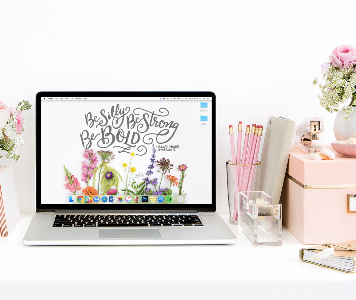 For August's FREE hand-drawn desktop wallpaper, we included fresh blooms paired with hand-lettering.