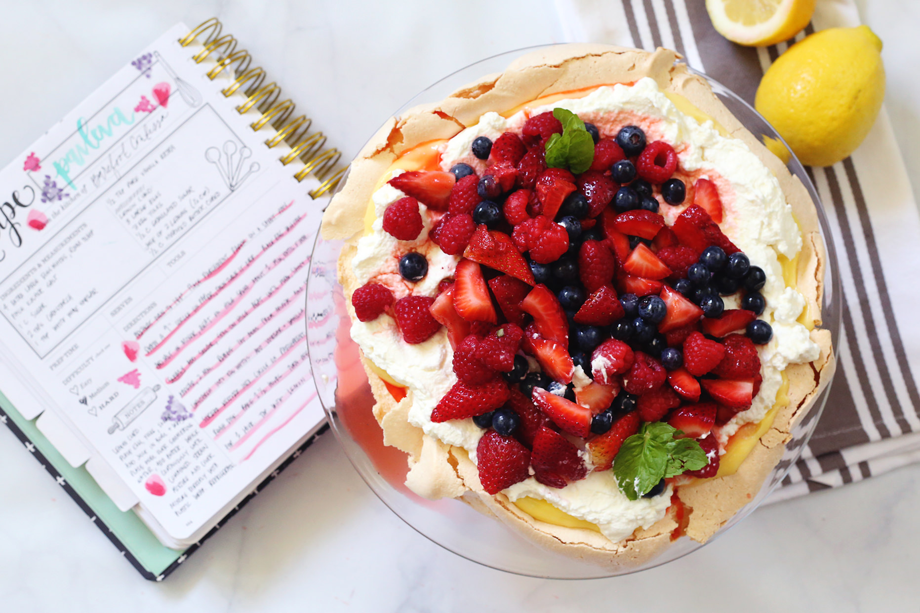 Ina Garten's delicious summer pavlova recipe brought to life via Lily & Val Living and recorded in The Keepsake Kitchen Diary