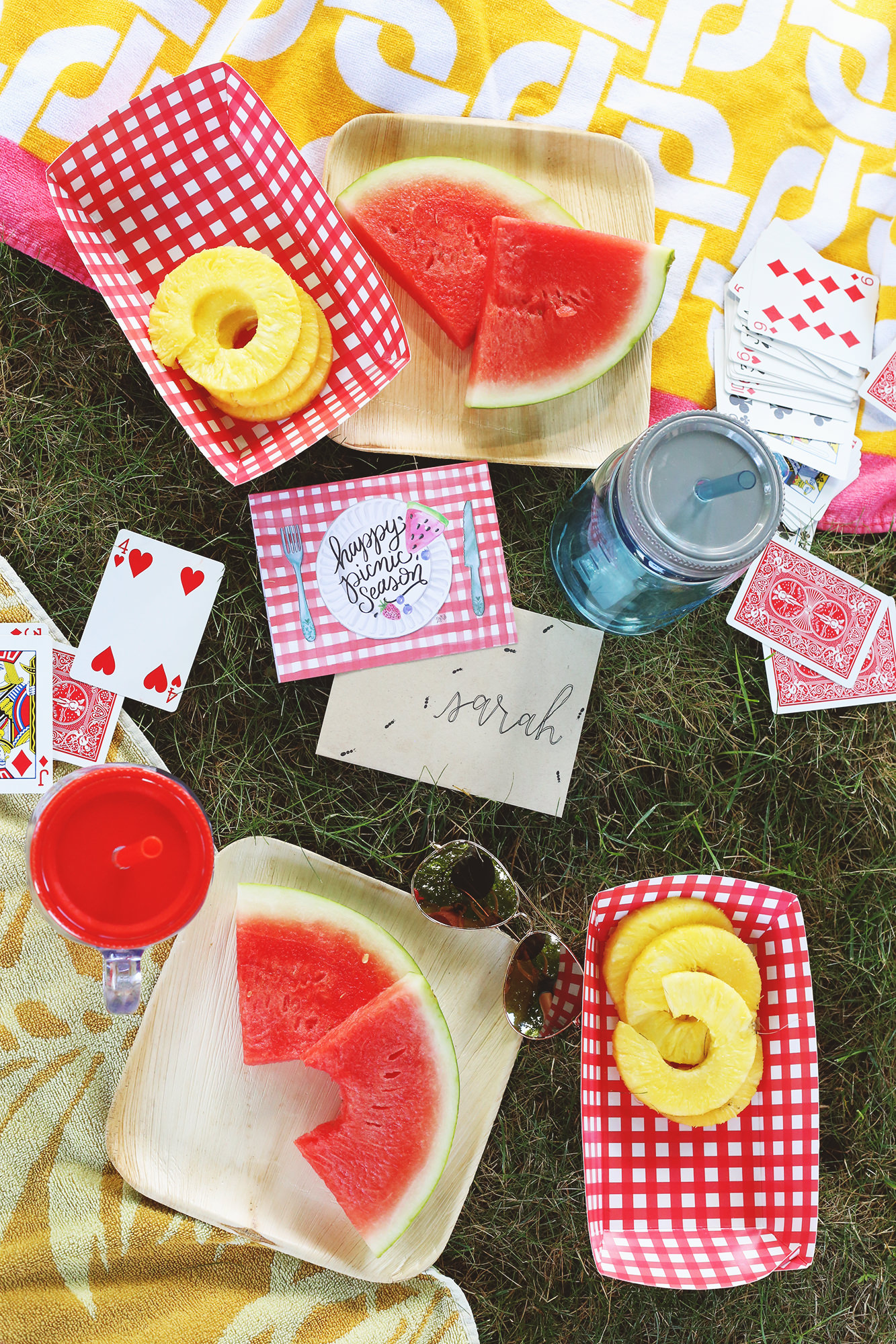 No picnic is complete with out fresh summer fruit! Pineapple and watermelon are perfect! On Lily & Val Living!