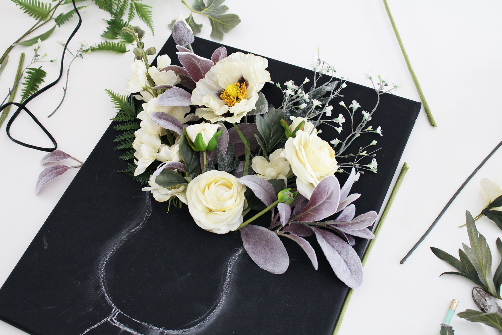 Handmade wall art on Lily & Val Living! Learn how to make a DIY 3-D flower canvas with a chalk art vase
