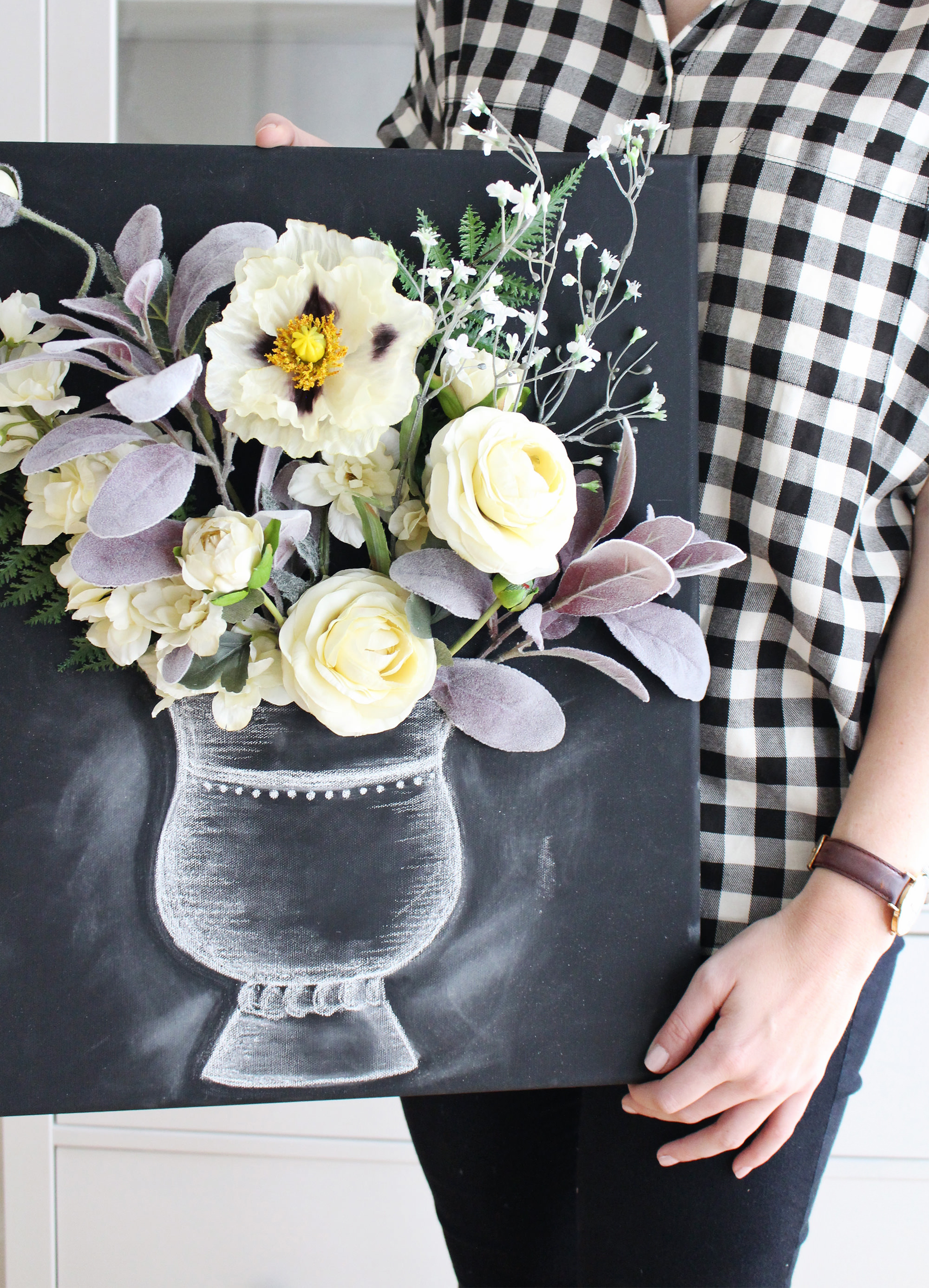 Combine flowers with chalk art to create this stunning 3-D flower canvas wall art on Lily & Val Living.