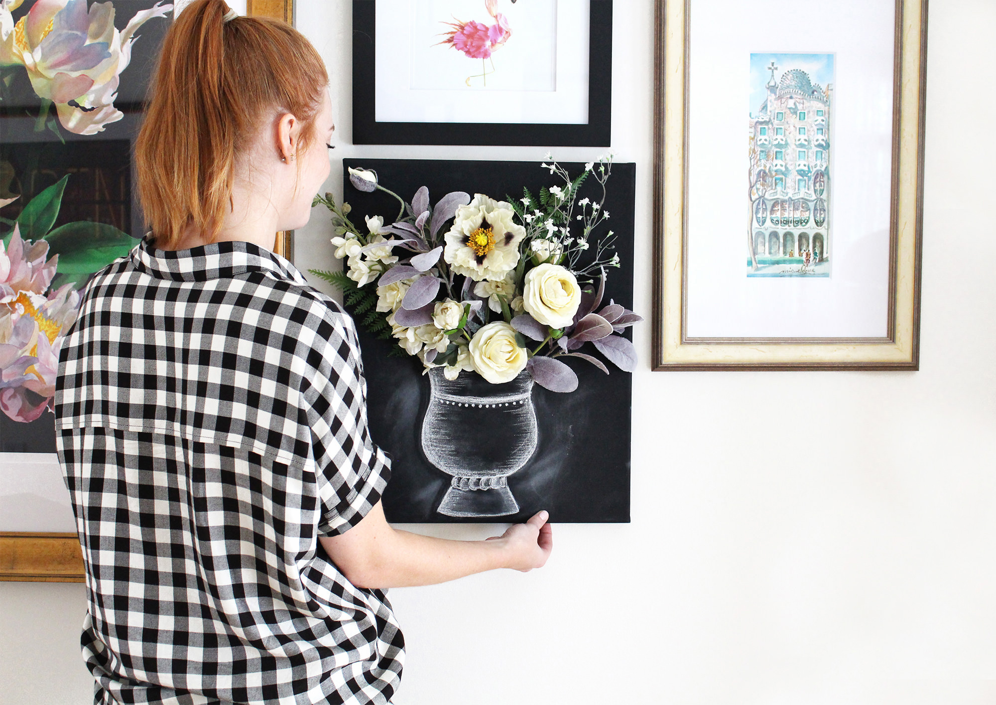 Handmade wall art on Lily & Val Living! Learn how to make this DIY 3-D flower canvas chalk art