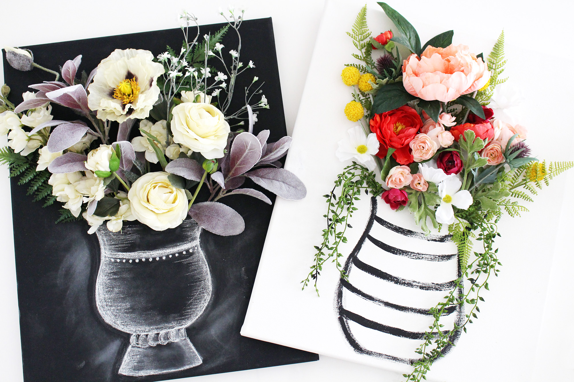 Create stunning 3-D flower canvas wall art using faux flowers and hand-drawn vases. Get the DIY on Lily & Val Living!