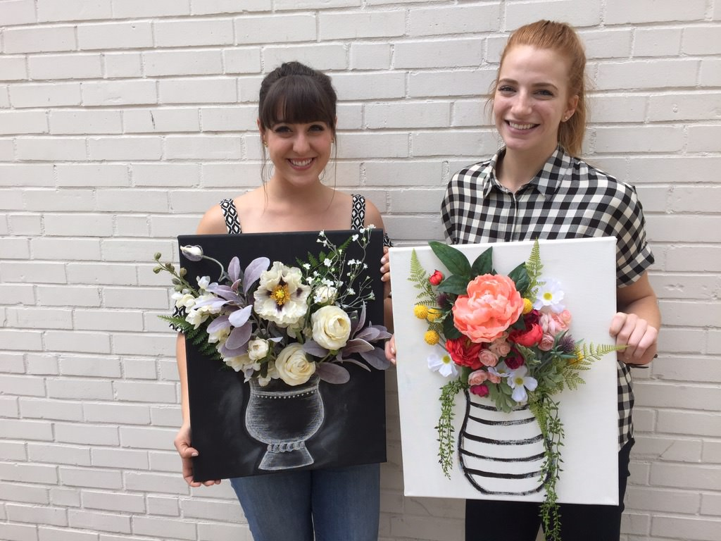 Emily and I were so excited about our floral canvas DIY projects, we just had to snap a photo with them!